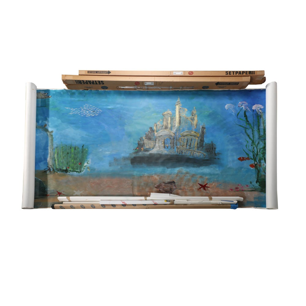 """Hand Painted Photography Backdrops Including """"The Little Mermaid"""""""