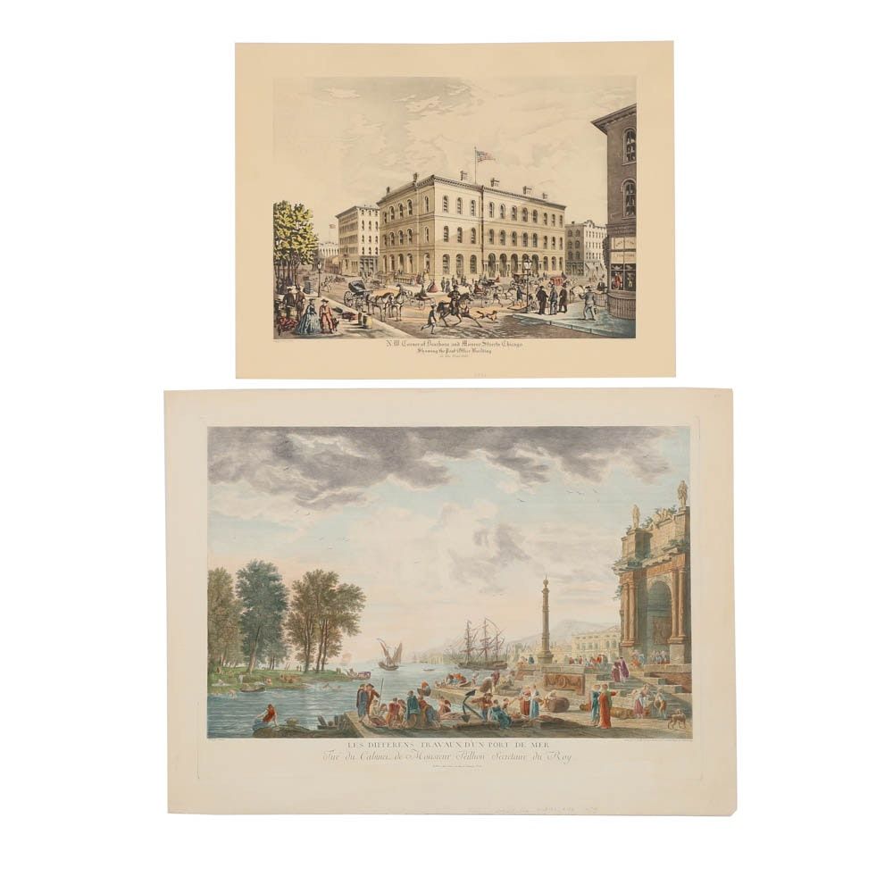 Pair of Restrike Engraving and Mixed Media Print of Figural Cityscape