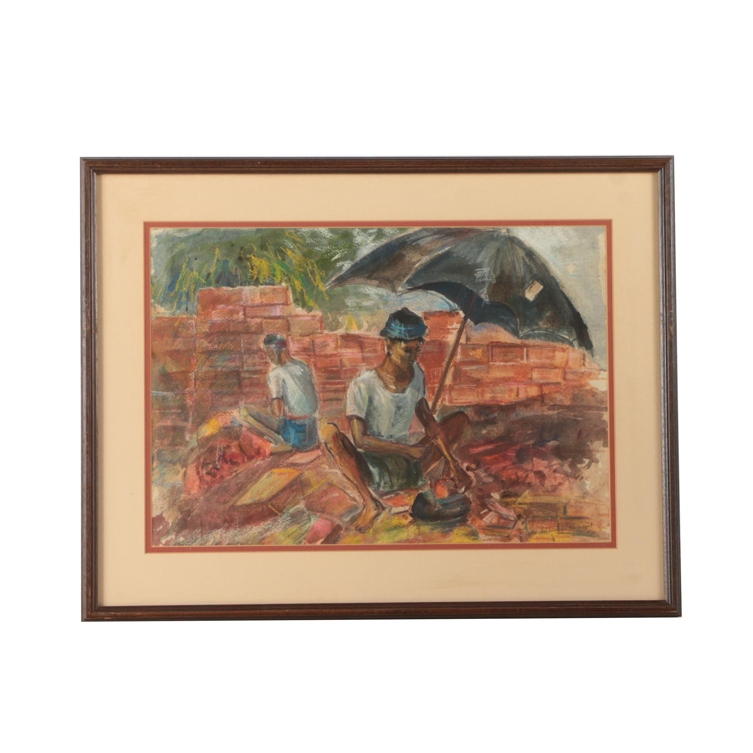 Salima Hedayet 1964 Watercolor and Pastel Illustration of Brick Masons at Work