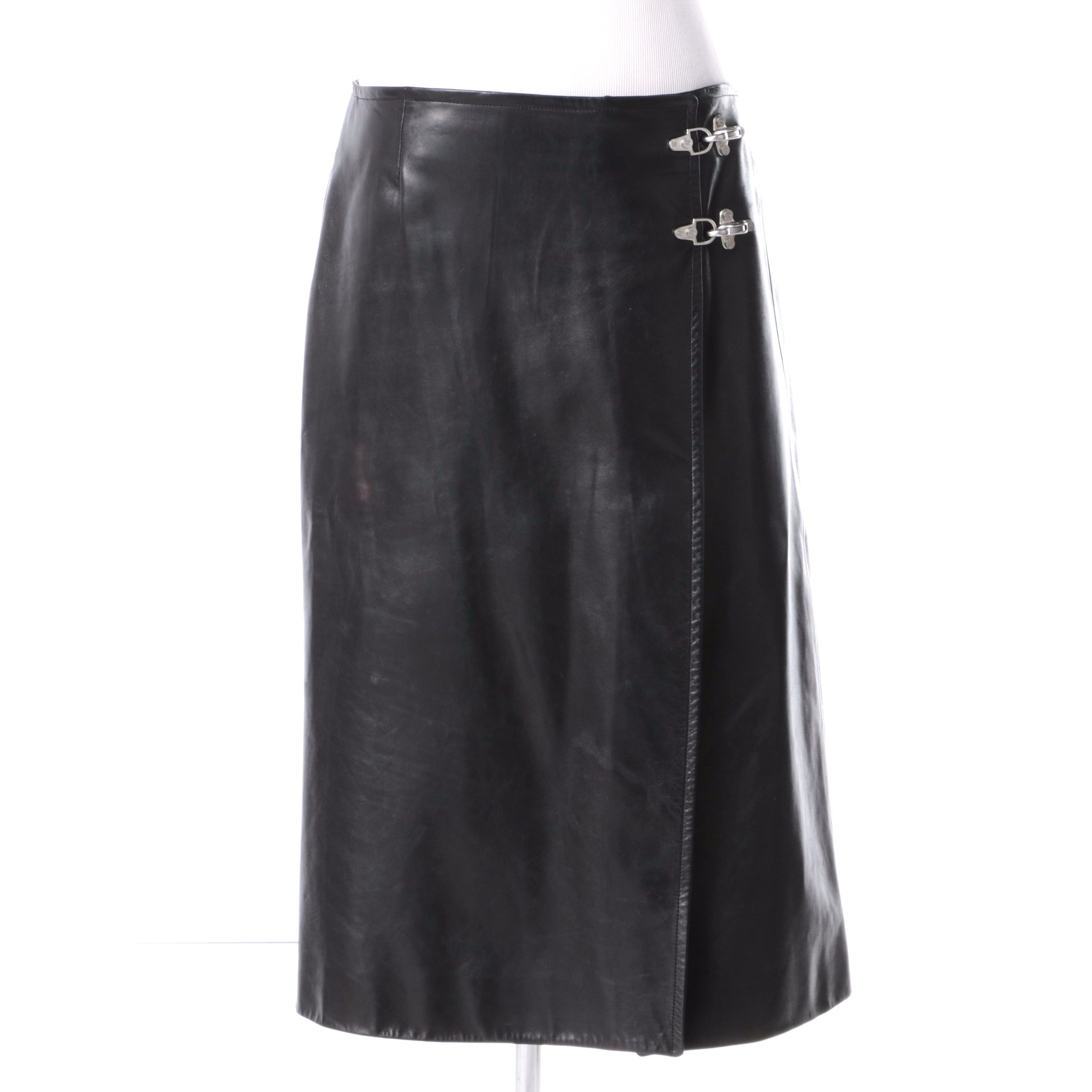 Women's Céline Lambskin Leather Skirt