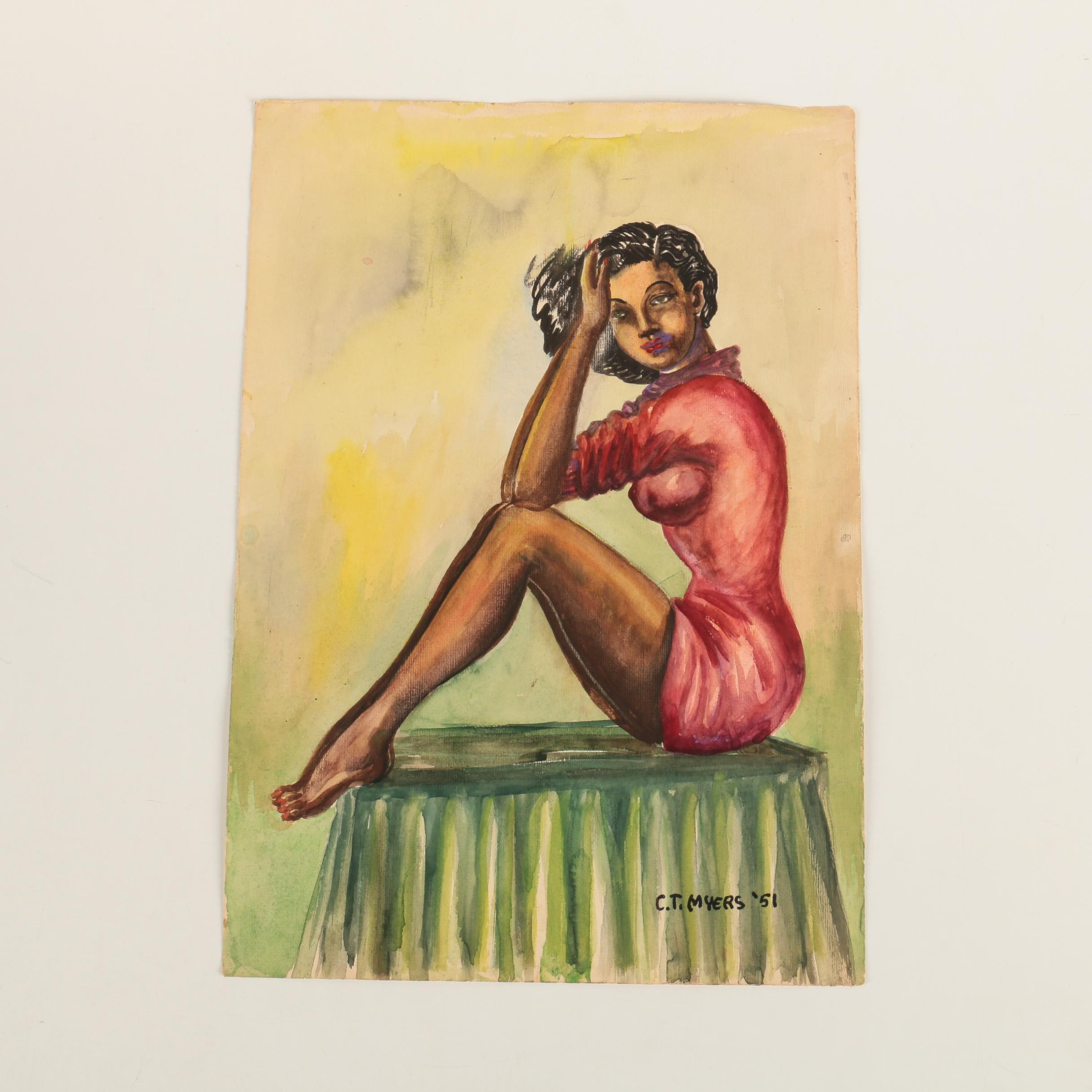 C. T. Myers Watercolor Painting of Seated Woman