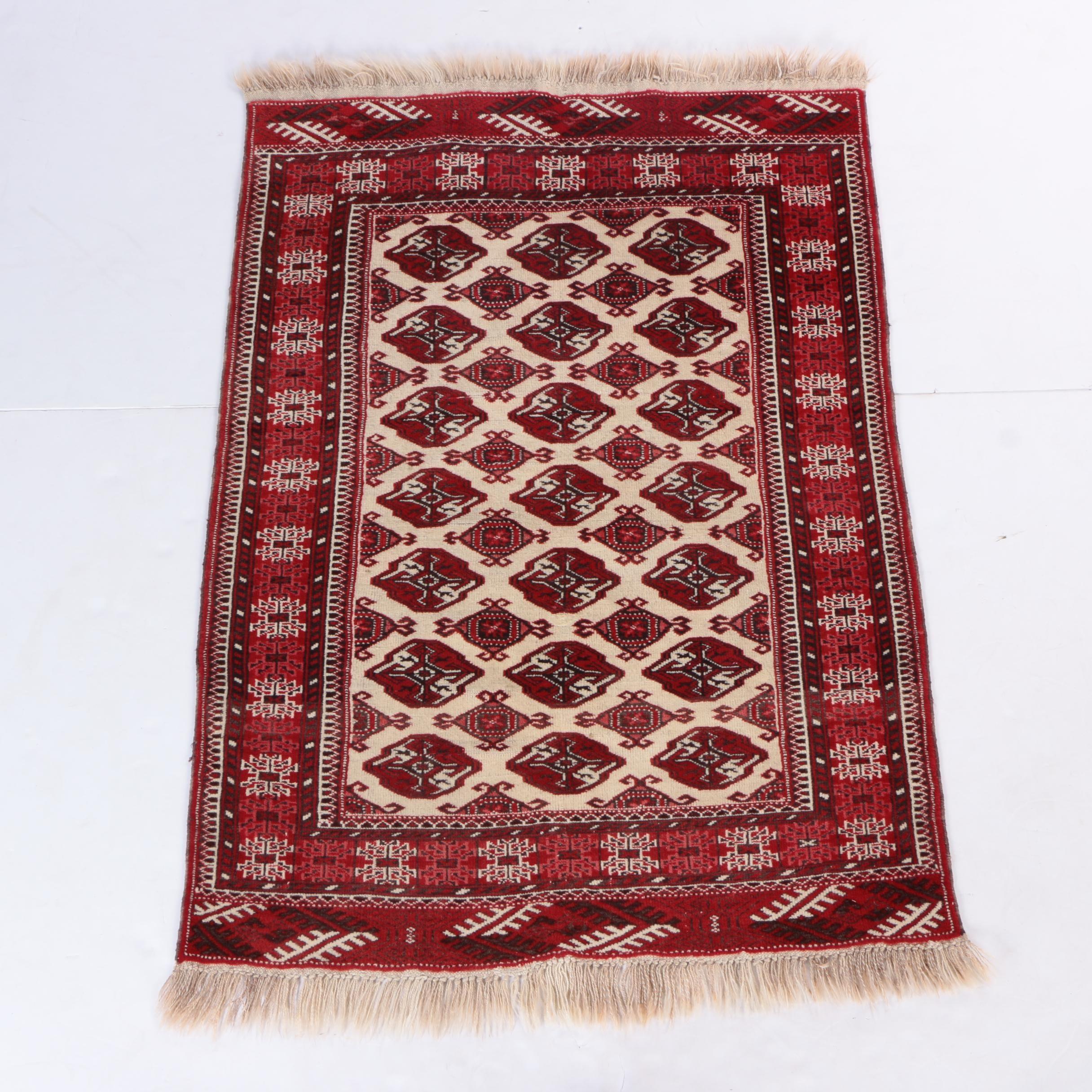 Hand-Knotted Tekke Bokhara Wool Area Rug