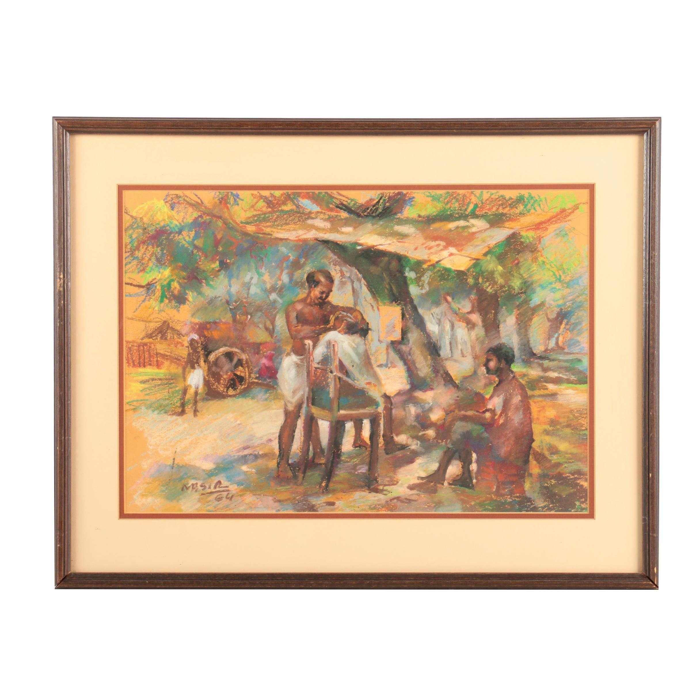 Nasir 1964 Pastel Drawing on Paper of a Barber Working Under a Canopy of Trees