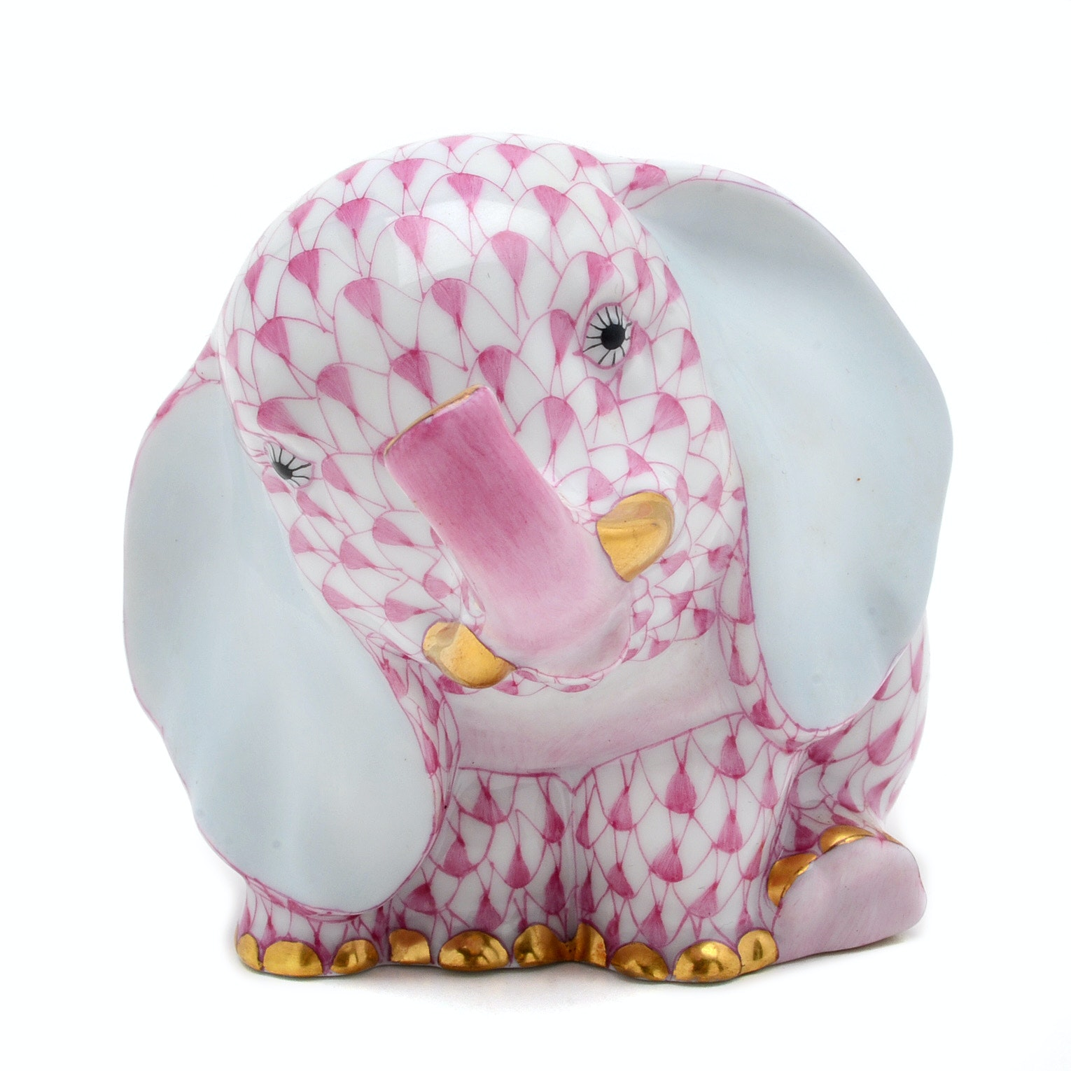 Herend Hungary Baby Elephant Figurine in Pink Fishnet, First Edition