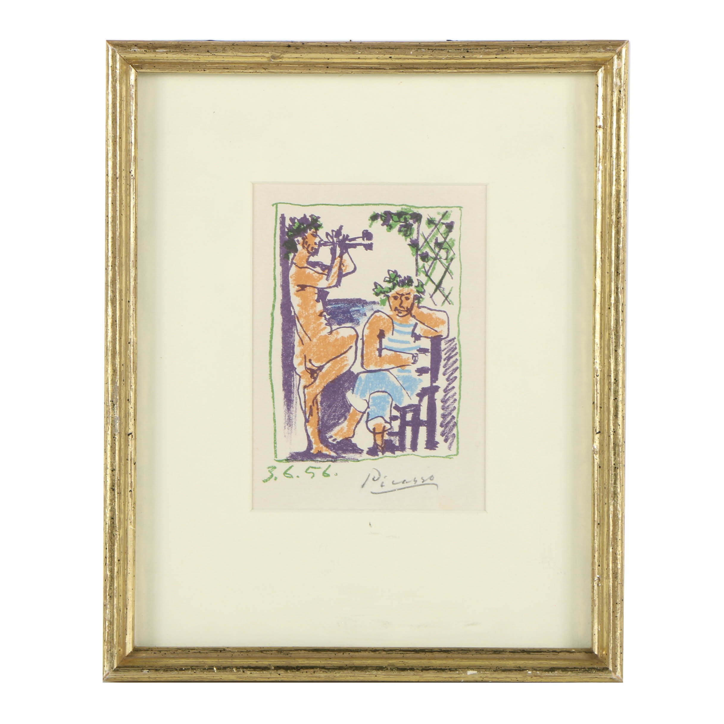 Reproduction Color Lithograph After Pablo Picasso's _Faun et Marin_