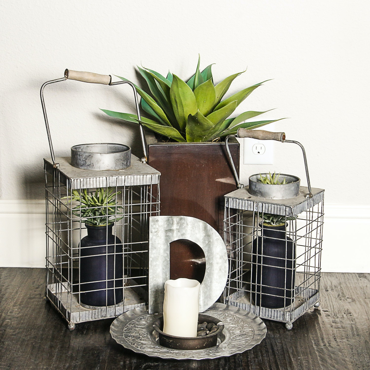 Metal Candle Holders and Plant Decor