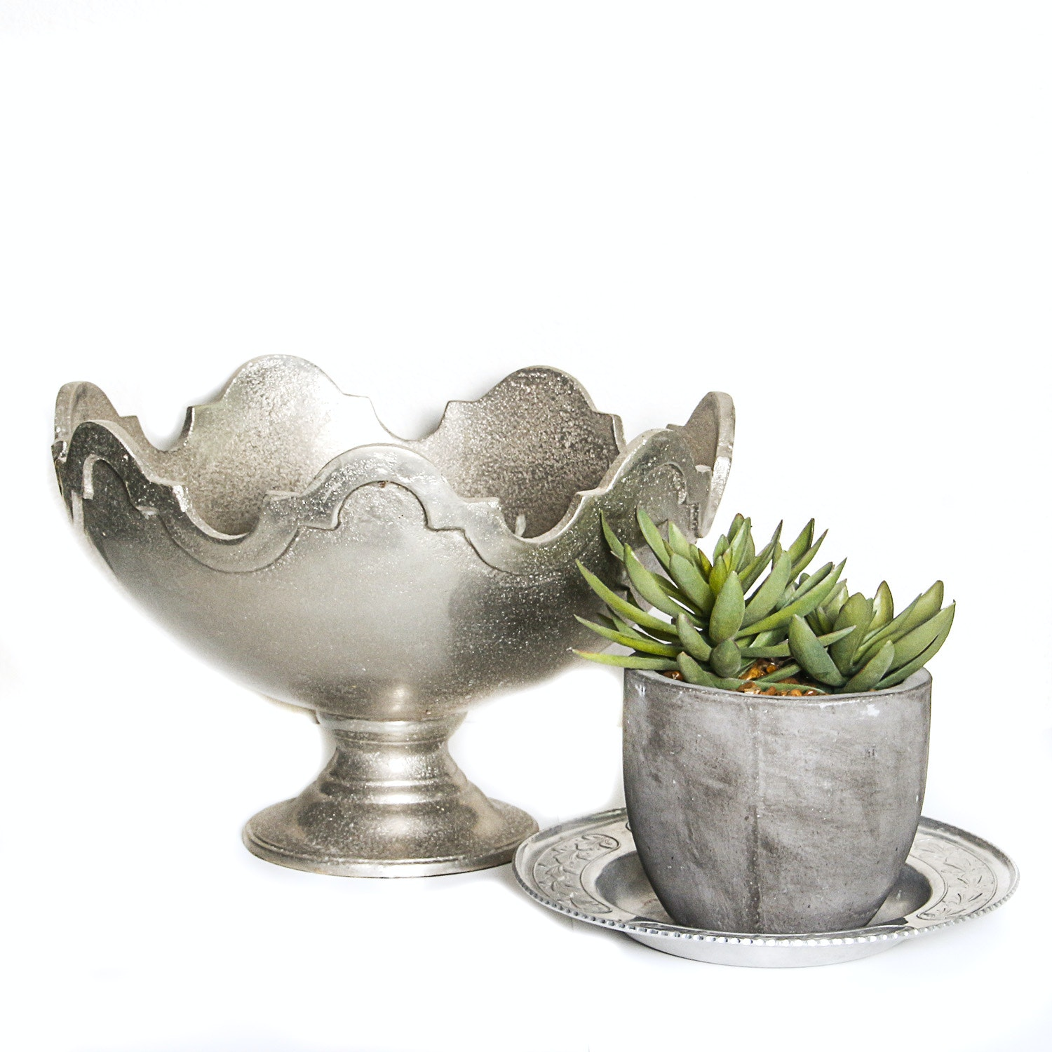 Metal Centerpiece and Pewter Dish