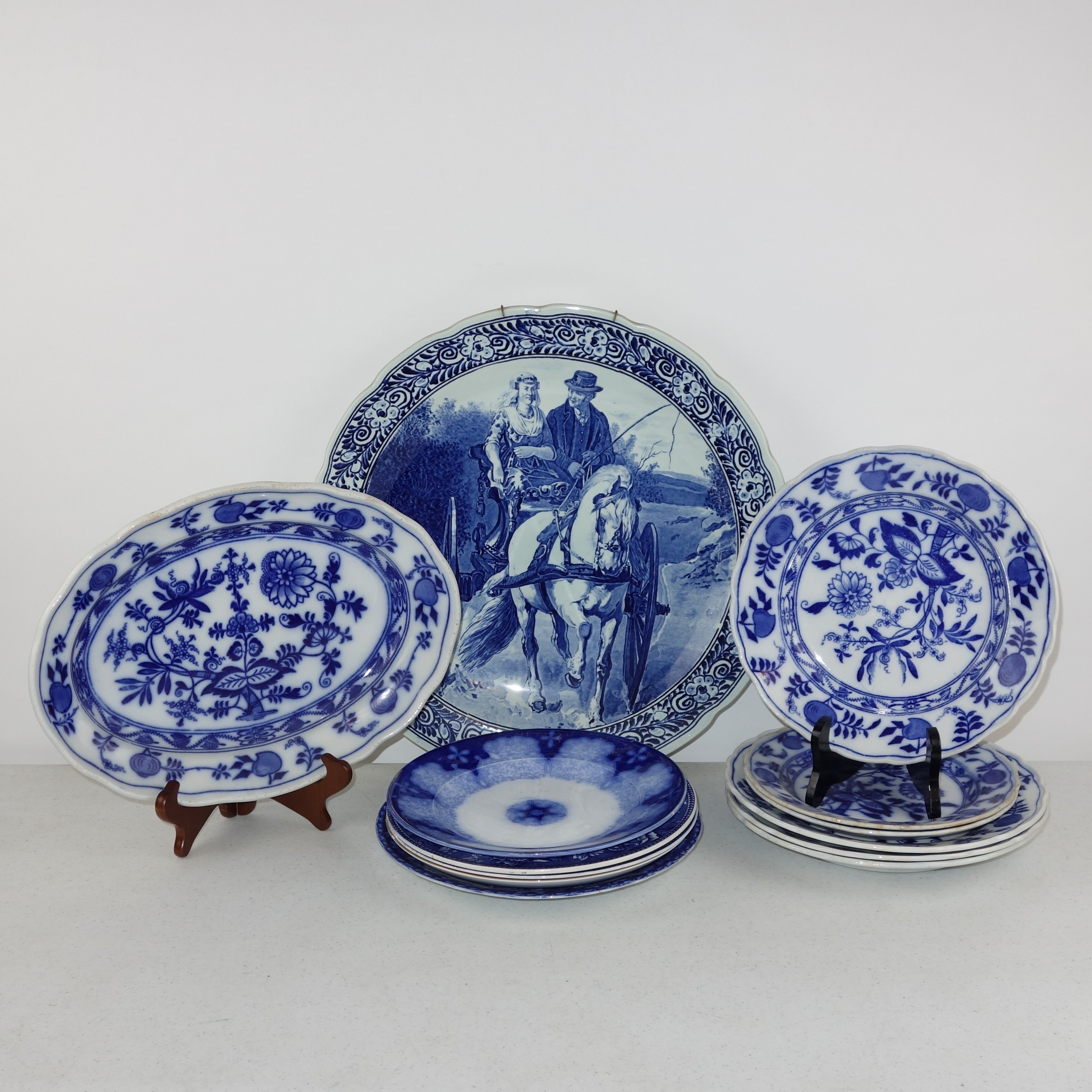 """Delft Charger and English """"Meissen"""" Blue Onion Style Dinnerware"""