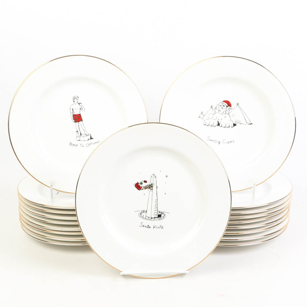 Merry Masterpieces Porcelain Christmas Cocktail Plates