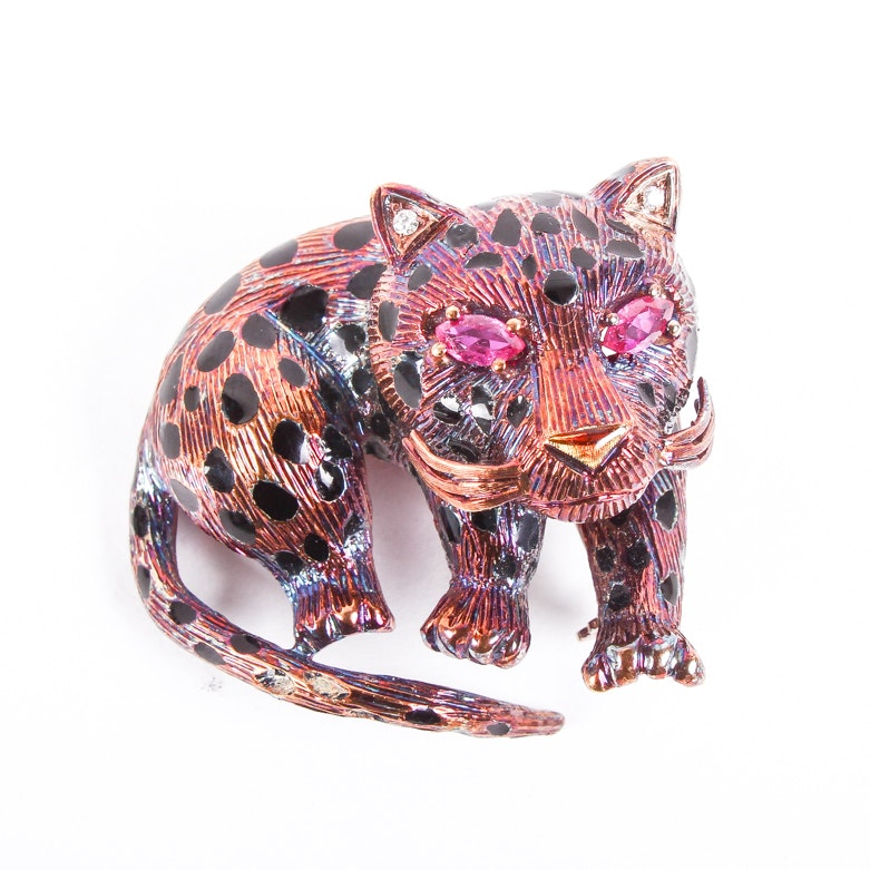 Oxidized 18K Yellow Gold, Ruby, and Diamond Leopard Brooch
