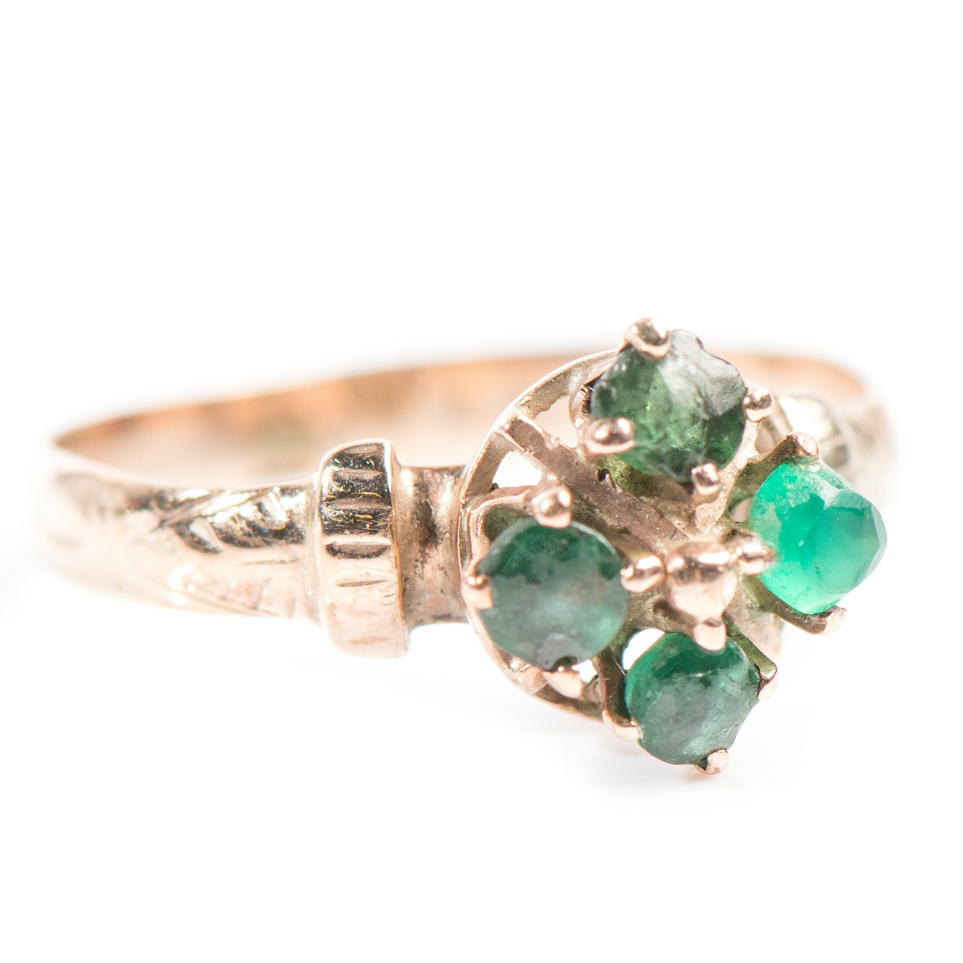 10K Yellow Gold Four-Stone Simulated Emerald Ring