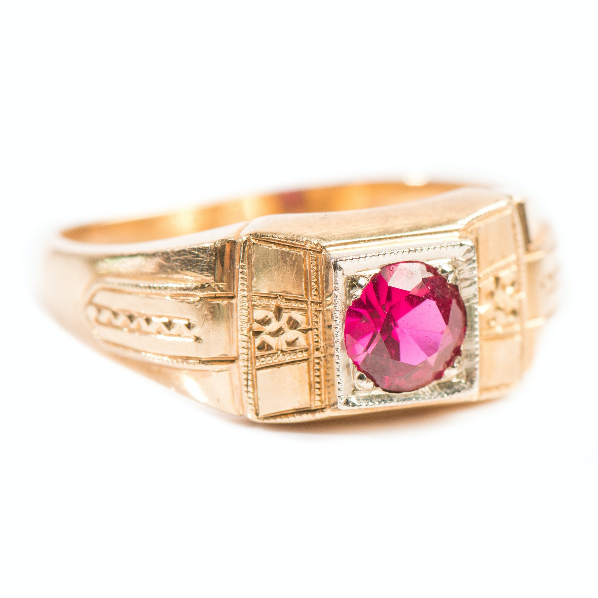 14K Yellow Gold Synthetic Ruby Ring with White Gold Square Frame