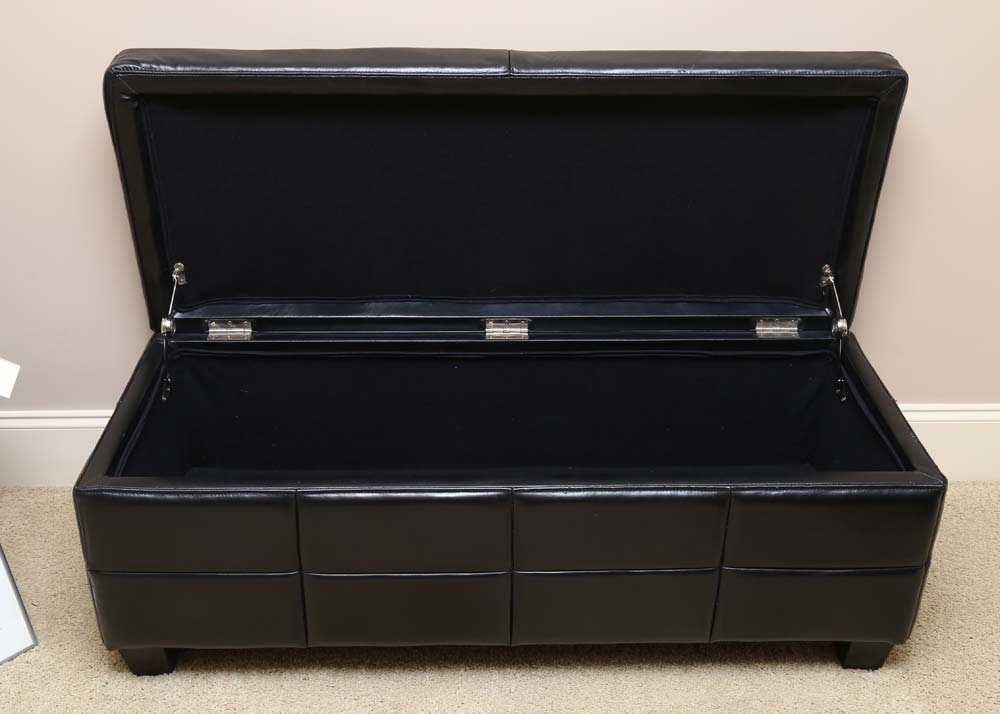 Black Leather Storage Bench Ebth