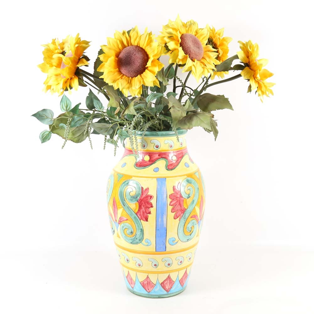Large Hand Painted Italian Vase with Sunflowers