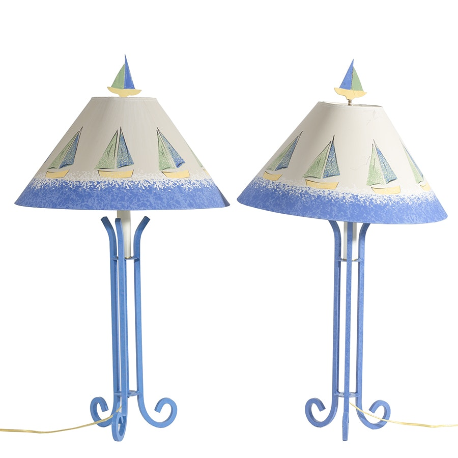 Pair of Sailing Themed Table Lamps