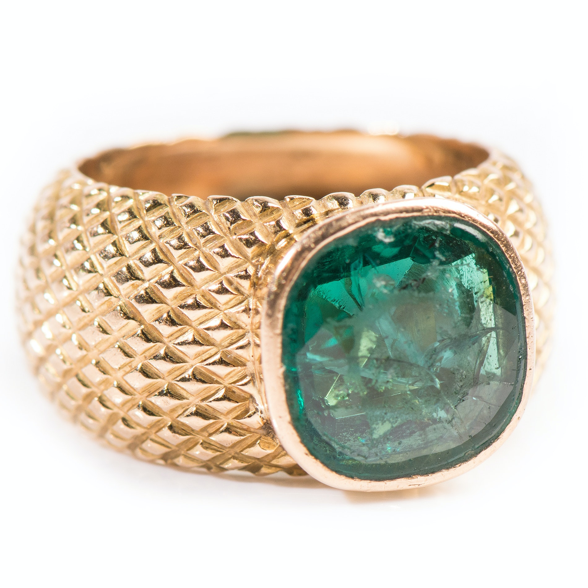 18K Yellow Gold Bezel Set Green Glass Ring