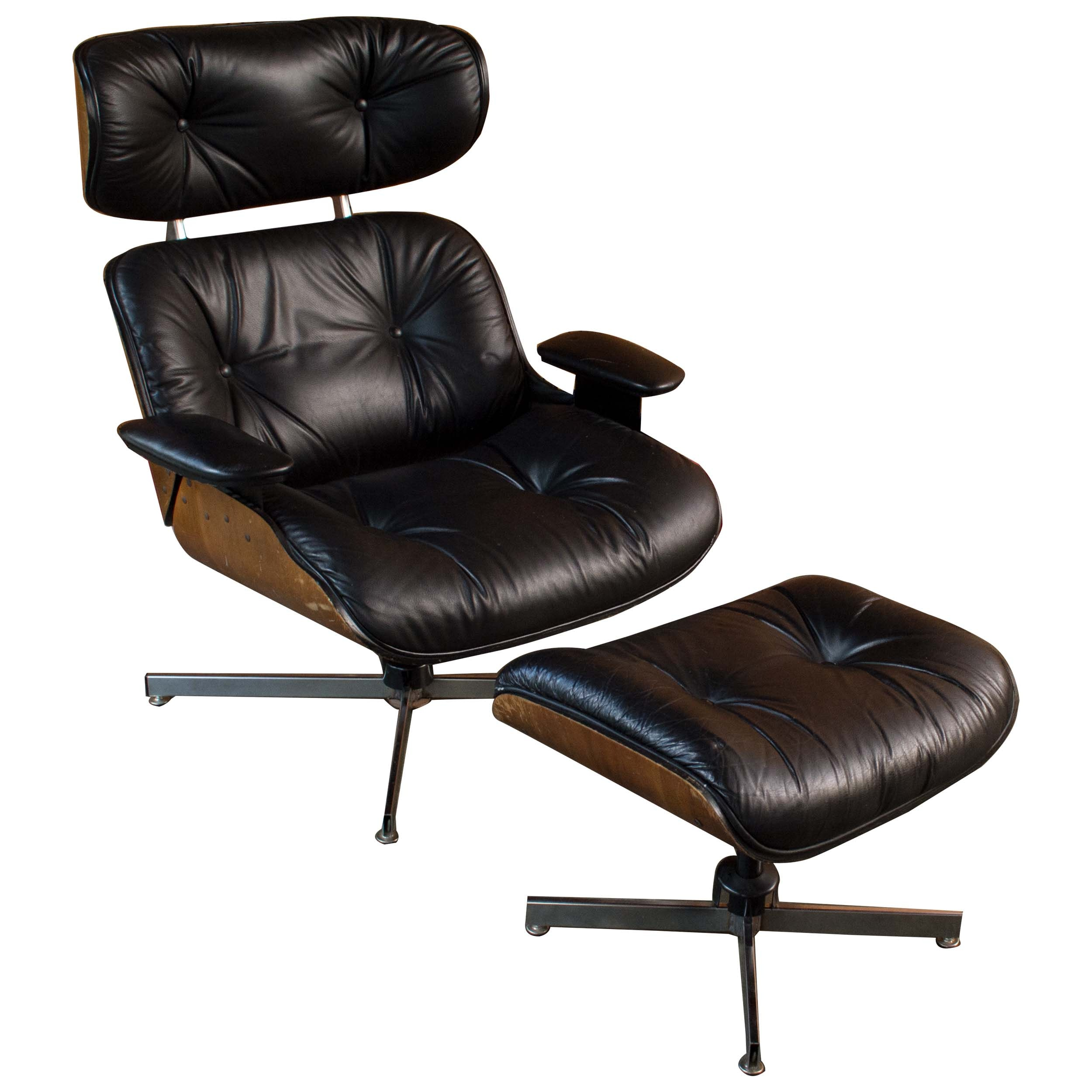 Mid Century Modern Eames Style Chair with Ottoman