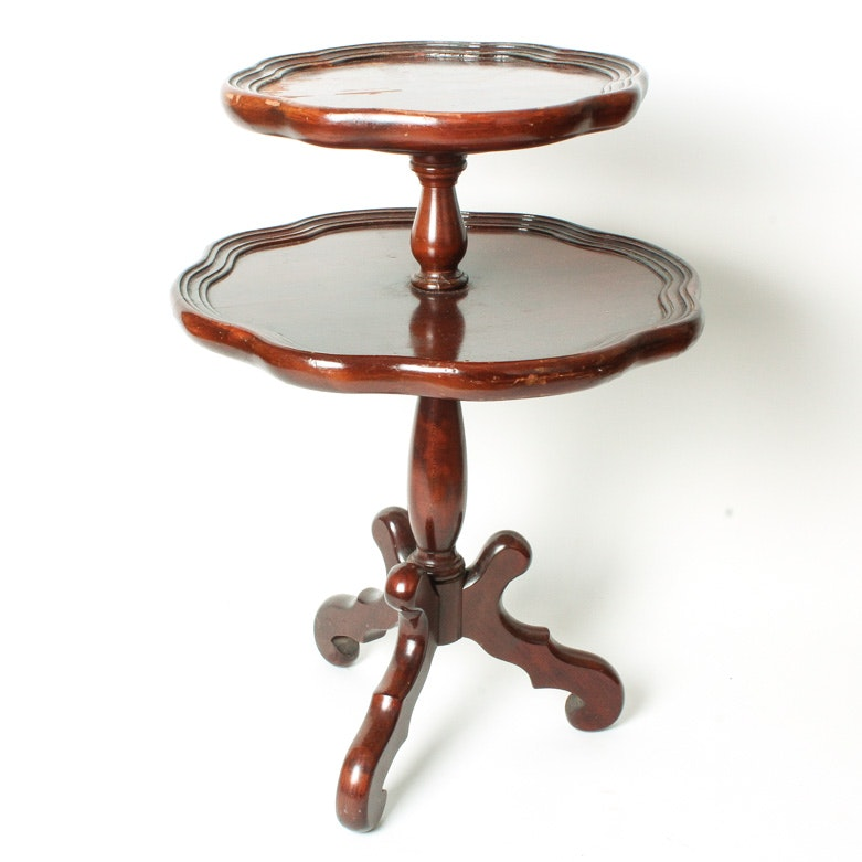 Cherry Two-Tiered Piecrust Table