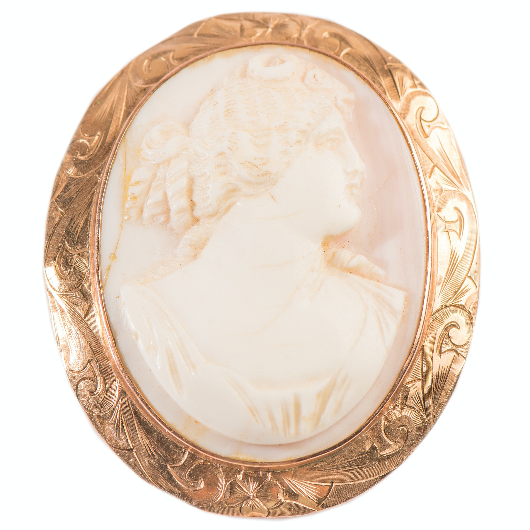 14K Yellow Gold Shell Cameo Brooch