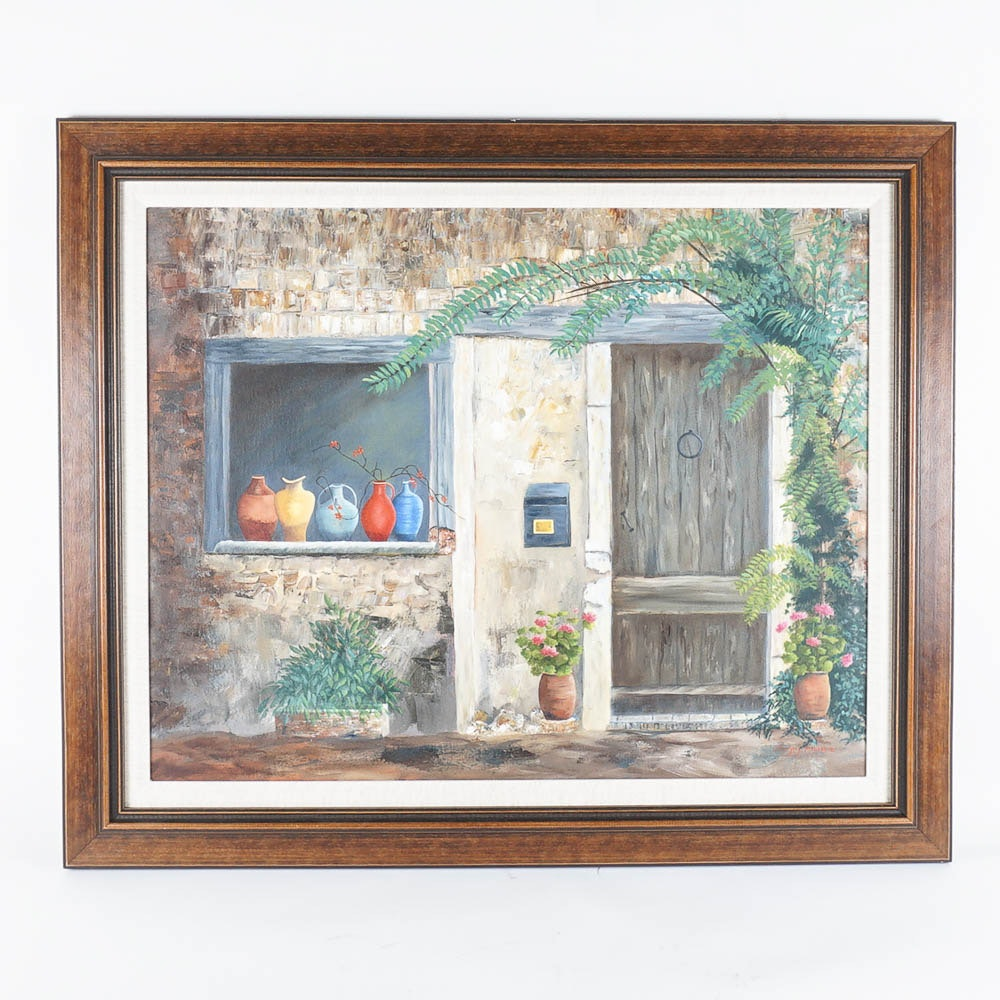 """Hand Embellished Giclée Print on Canvas After Margery Mitchell's """"Pots-Provence"""""""