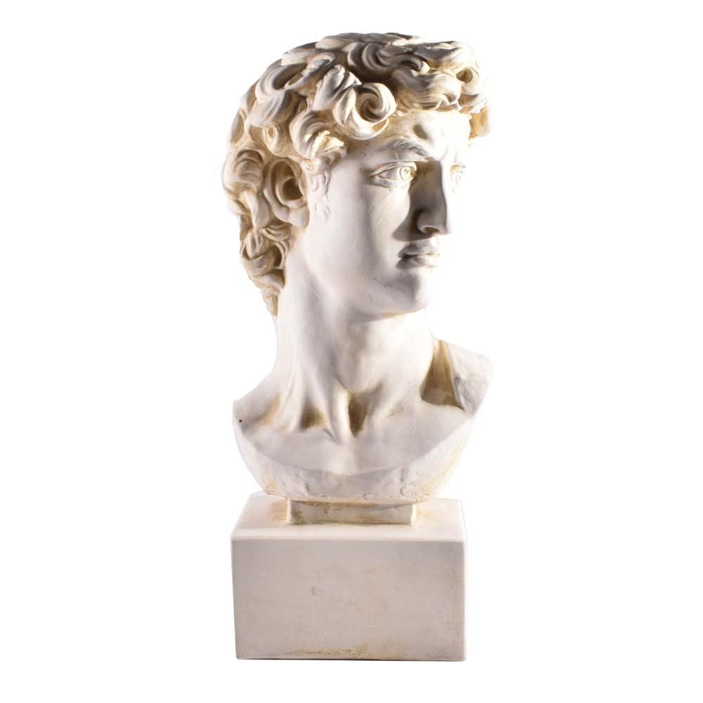 """Replica Plaster Bust of Michelangelo's """"David"""""""