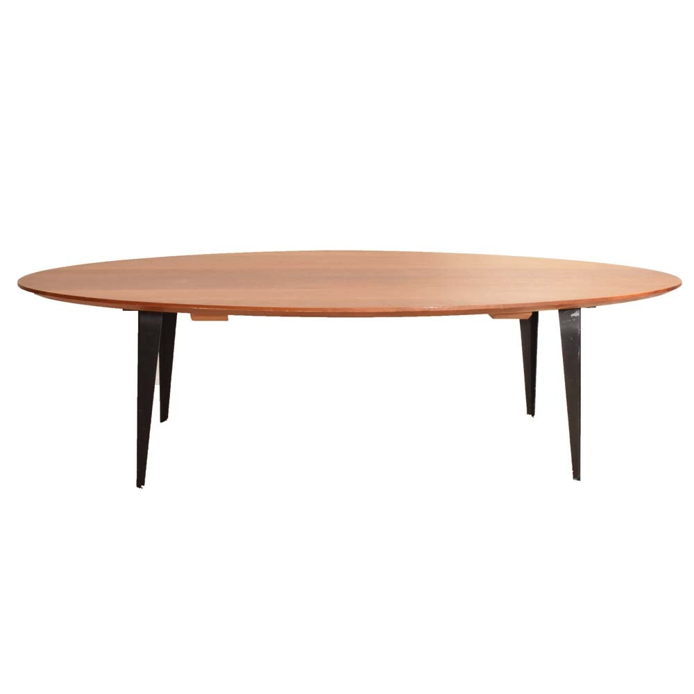 Oval Wooden and Wrought Iron Coffee Table