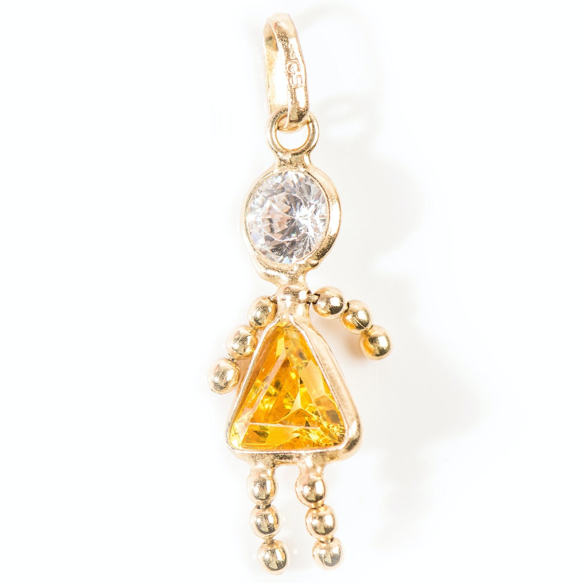 14K Yellow Gold Cubic Zirconia Girl Pendant