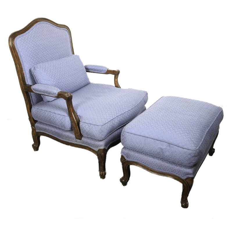 Vintage French Provincial Style Armchair with Ottoman