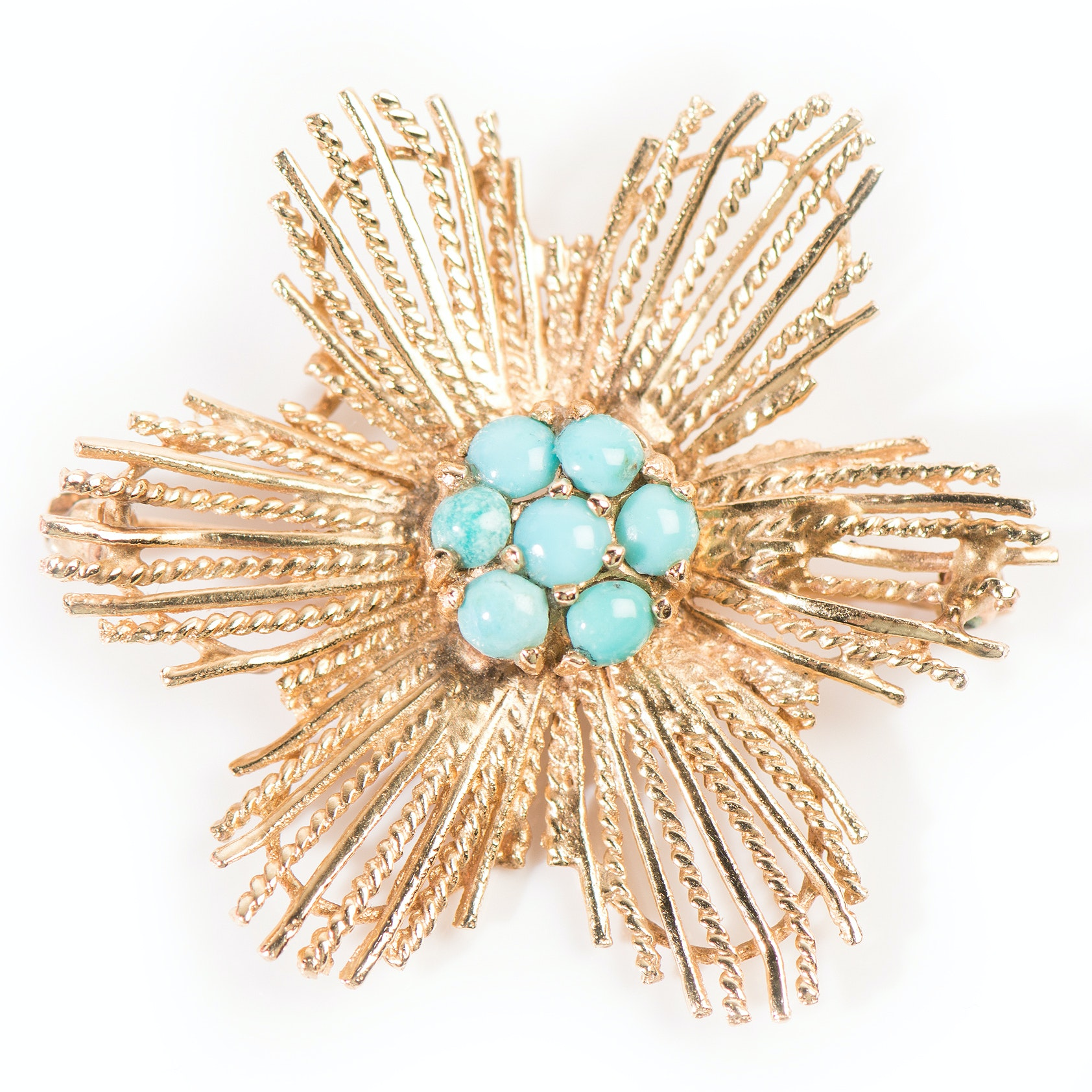 14K Yellow Gold Flower Brooch with Turquoise Center