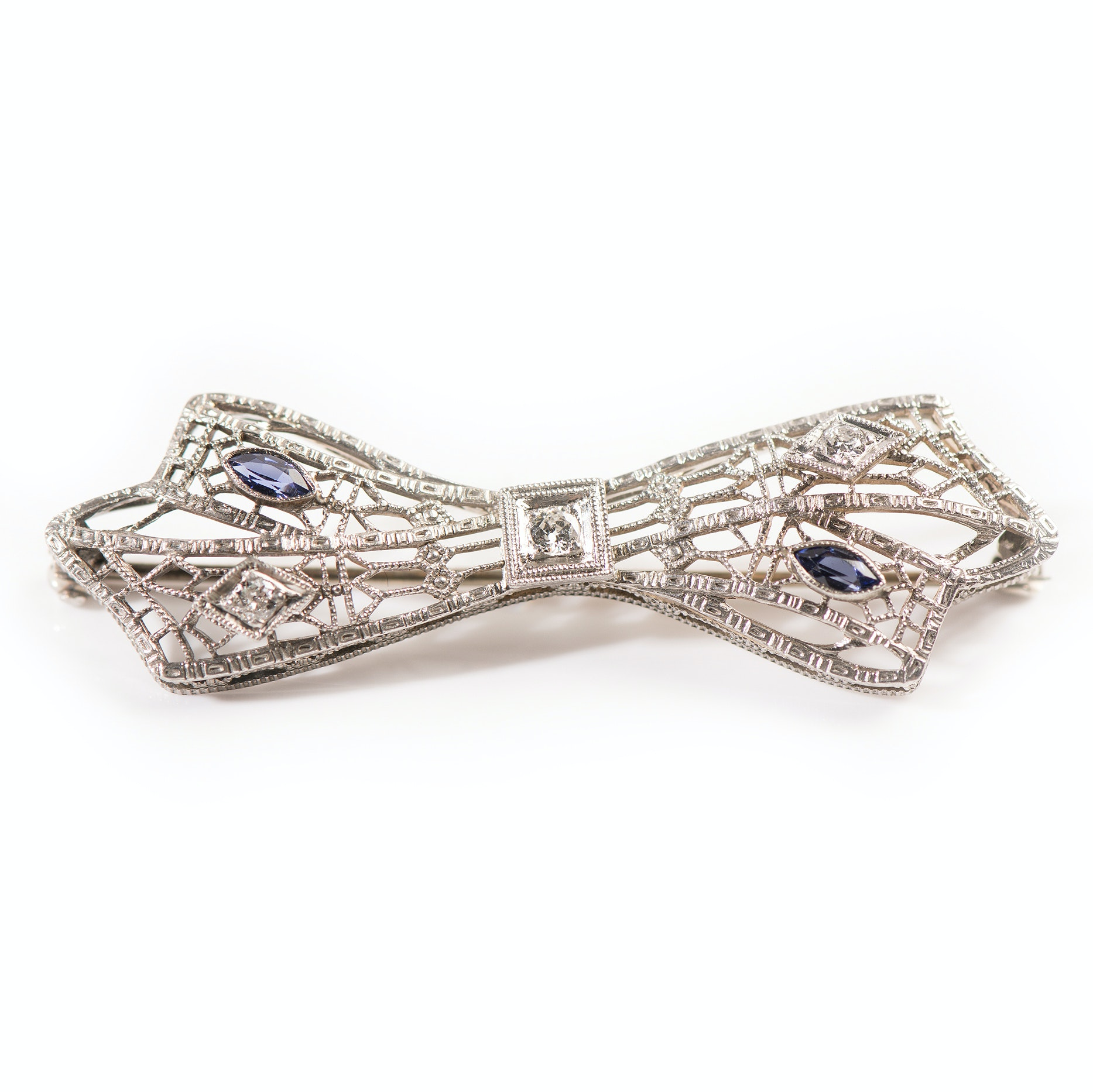 14K White Gold Diamond and Synthetic Sapphire Bow Brooch