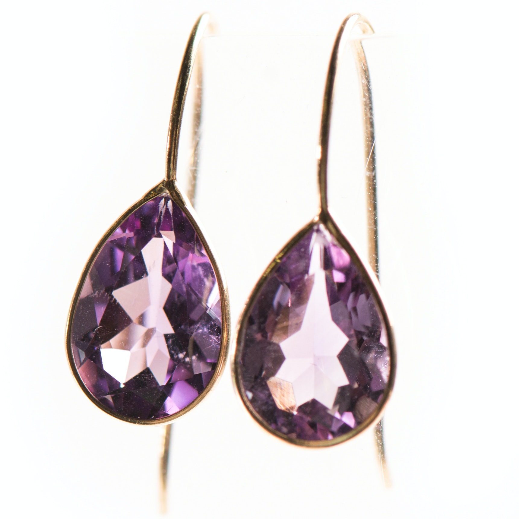 14K Yellow Gold Bezel Set Amethyst Earrings