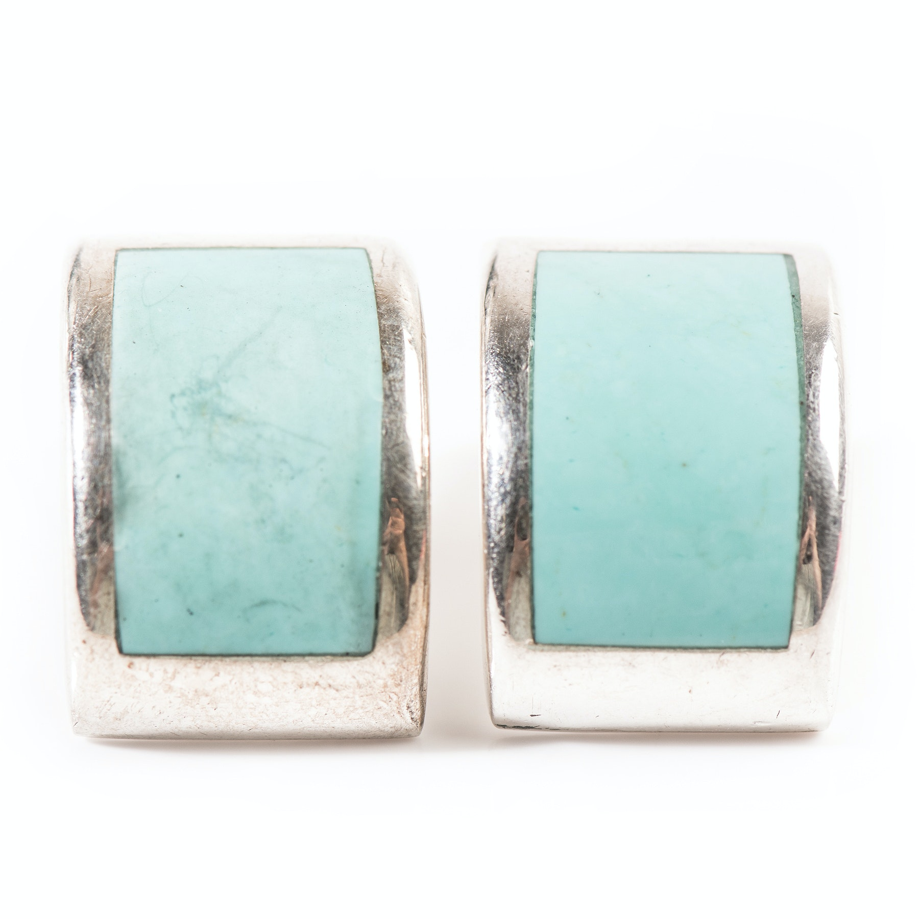 Sterling Silver Curved Turquoise Earrings