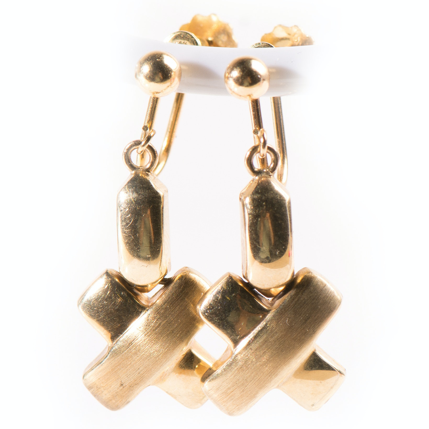 "9K Yellow Gold Dangle ""X"" Earrings"