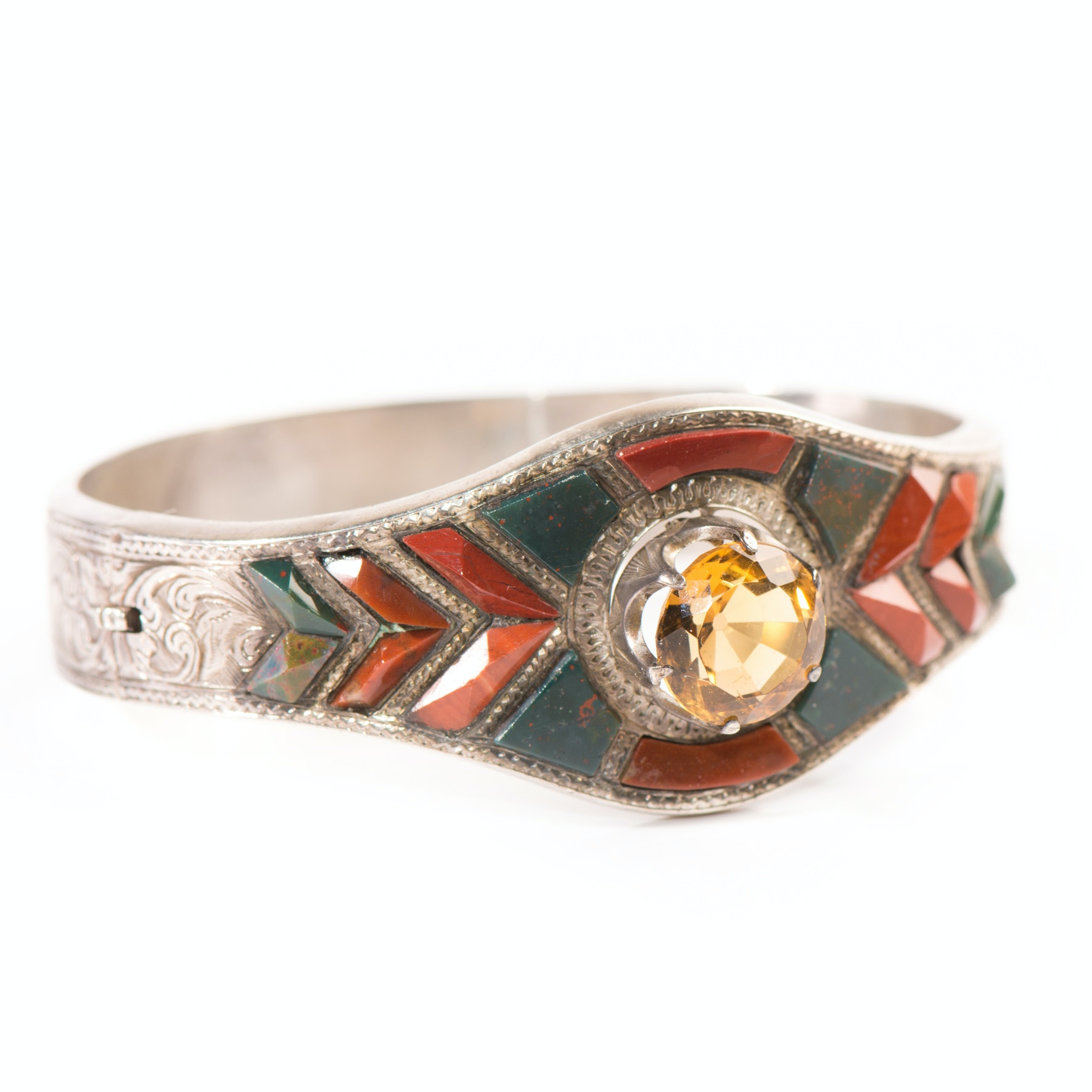 Sterling Silver Wide Tapering Bangle with 6.25 Carat Citrine