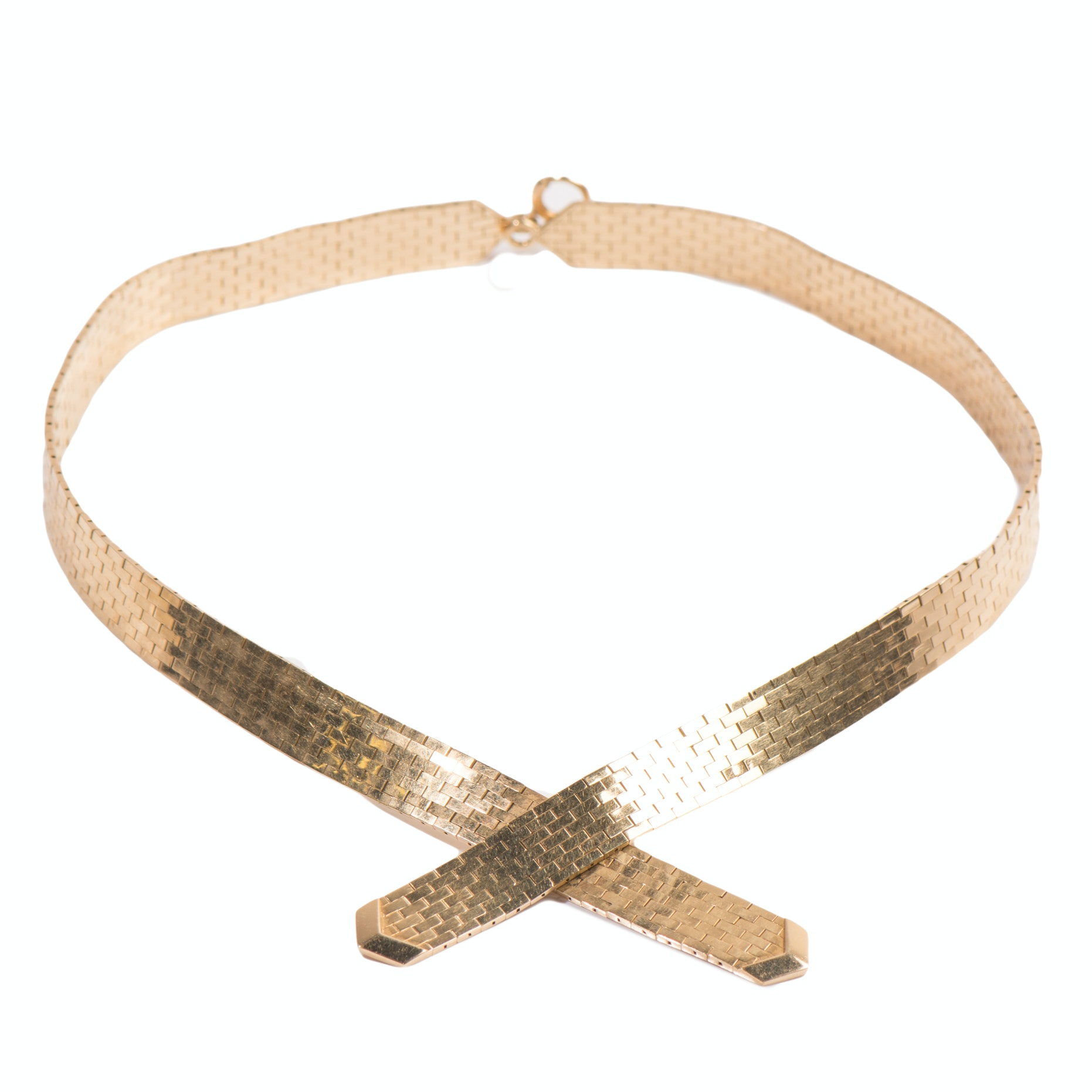 14K Yellow Gold Panther Link Choker