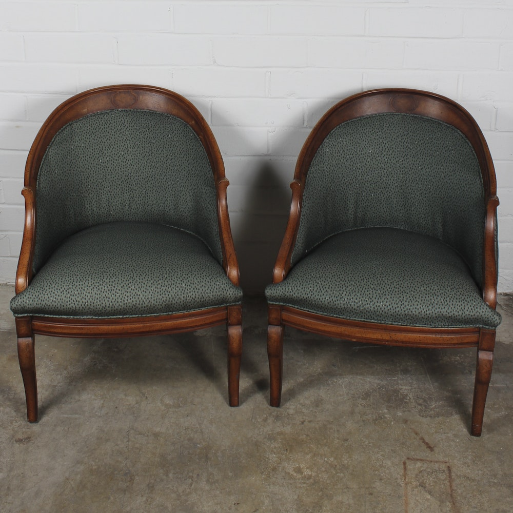 Two Neoclassical Style Chairs with Green Upholstery