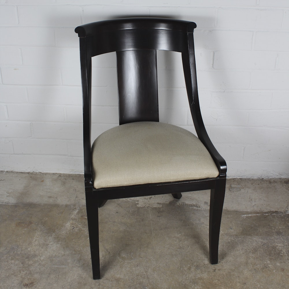 Black Regency Style Barrel Back Chair