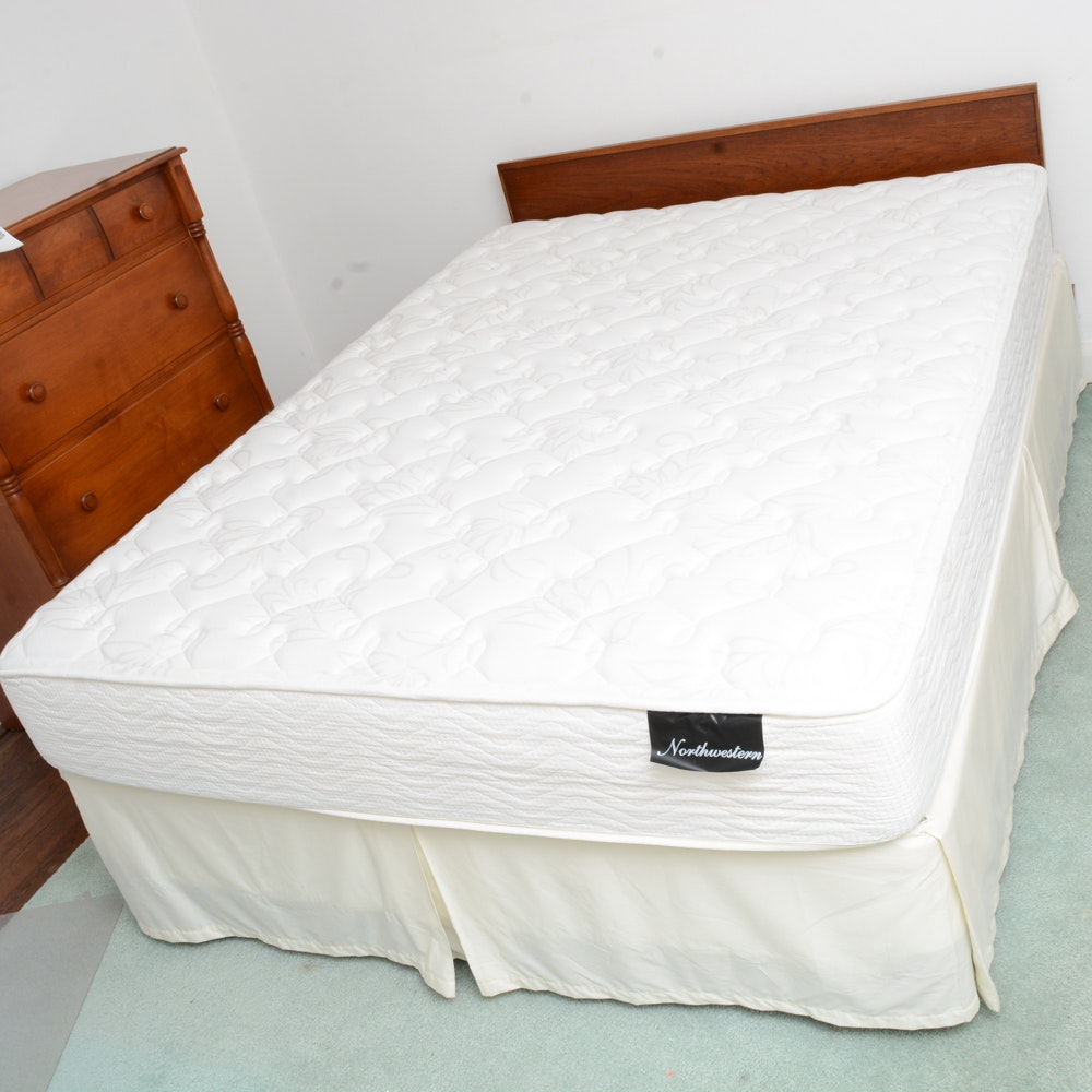 Queen Size Wooden Bed and Mattress