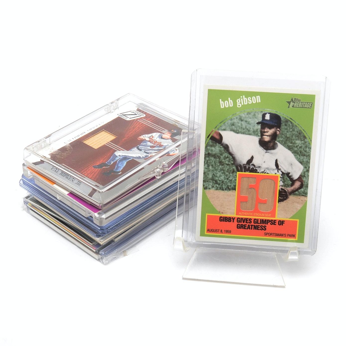Fifteen Baseball Relic Bat Cards, Many Hall O Fame Players