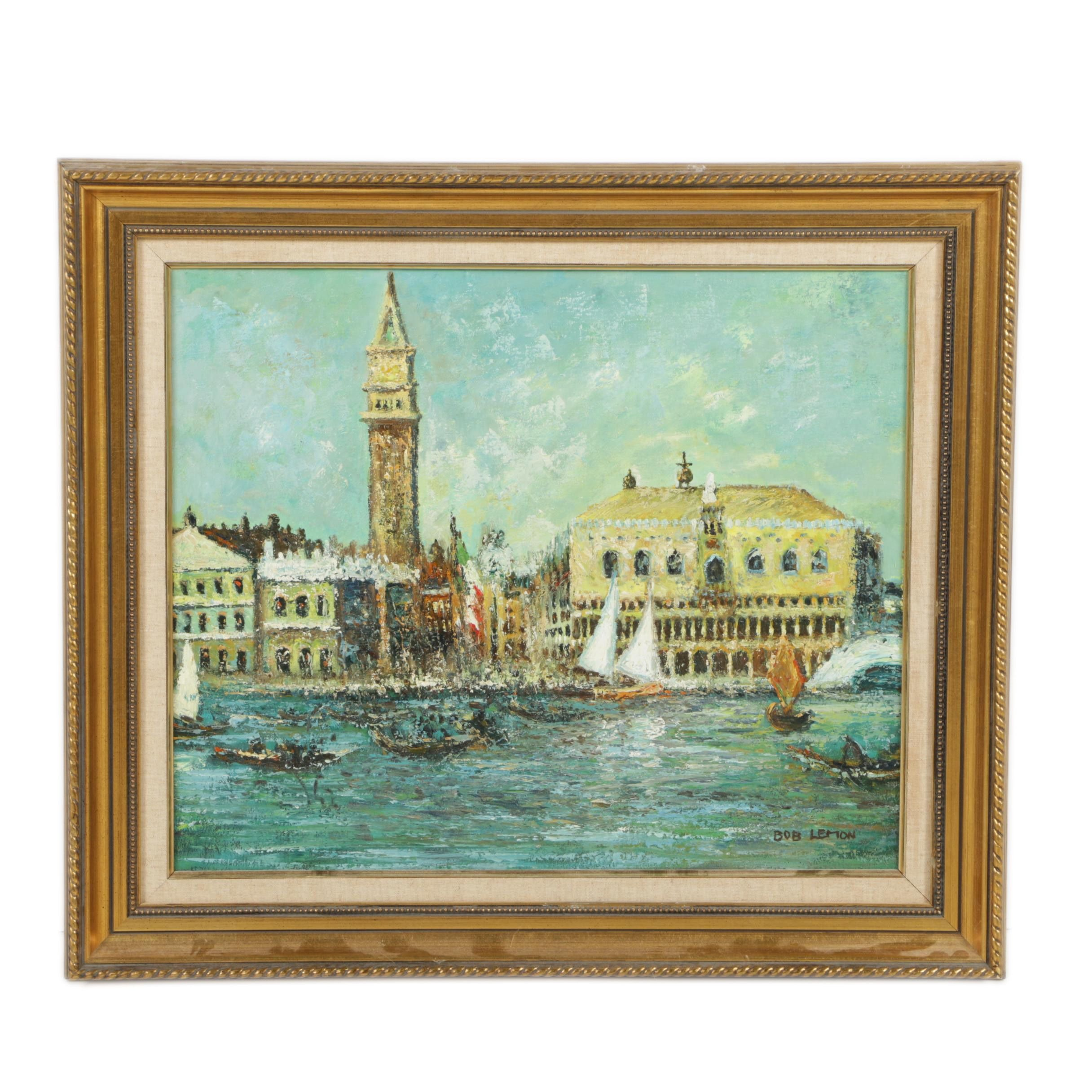 Bob Lemon Oil Painting of a Canal and San Marco Campanile
