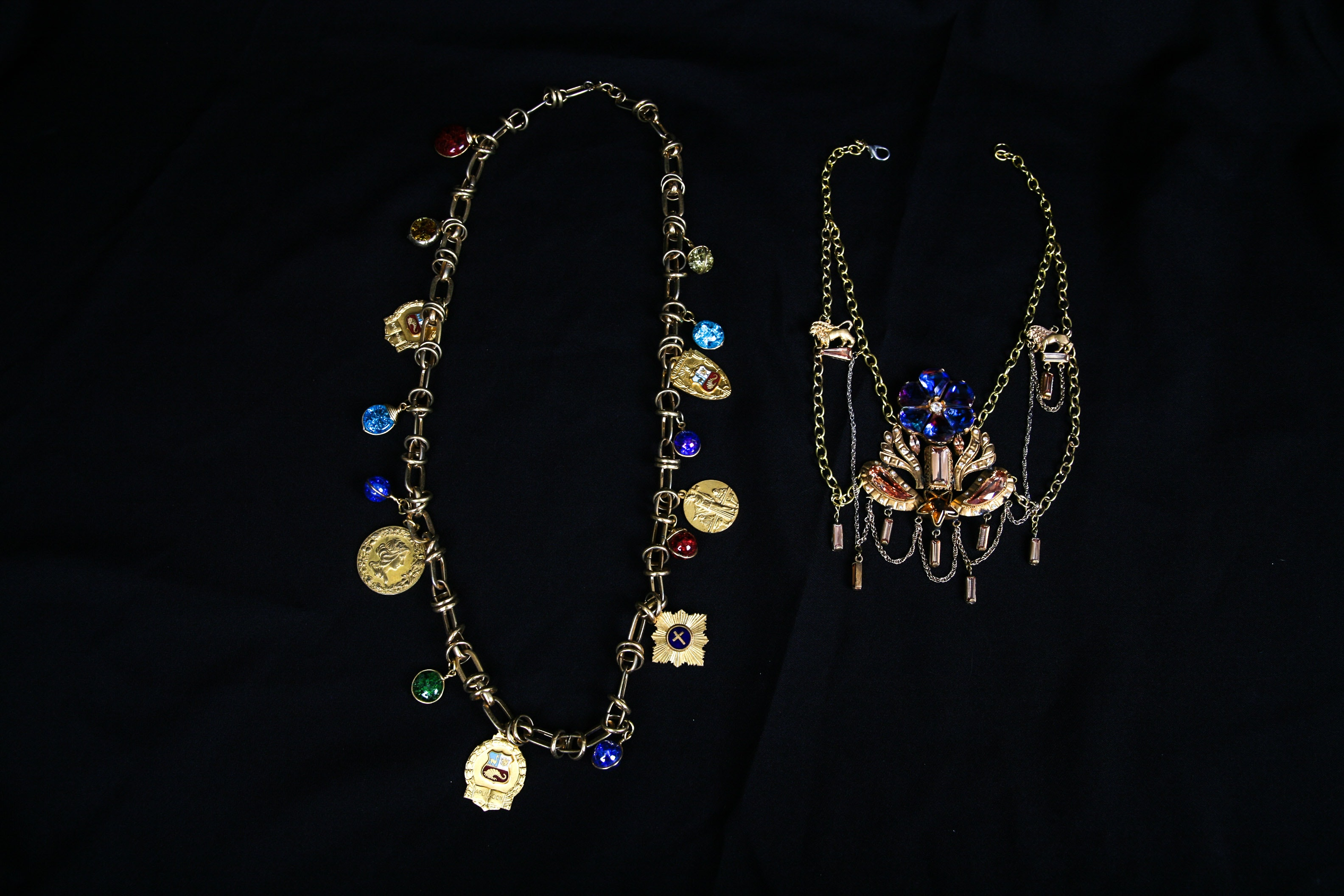 Gold Tone Crystal Beaded Necklaces