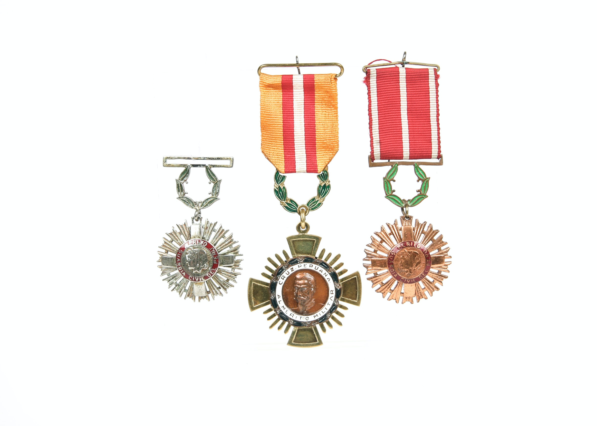 Peruvian Cross of Military Merit with two Civil Guard Merit Medals