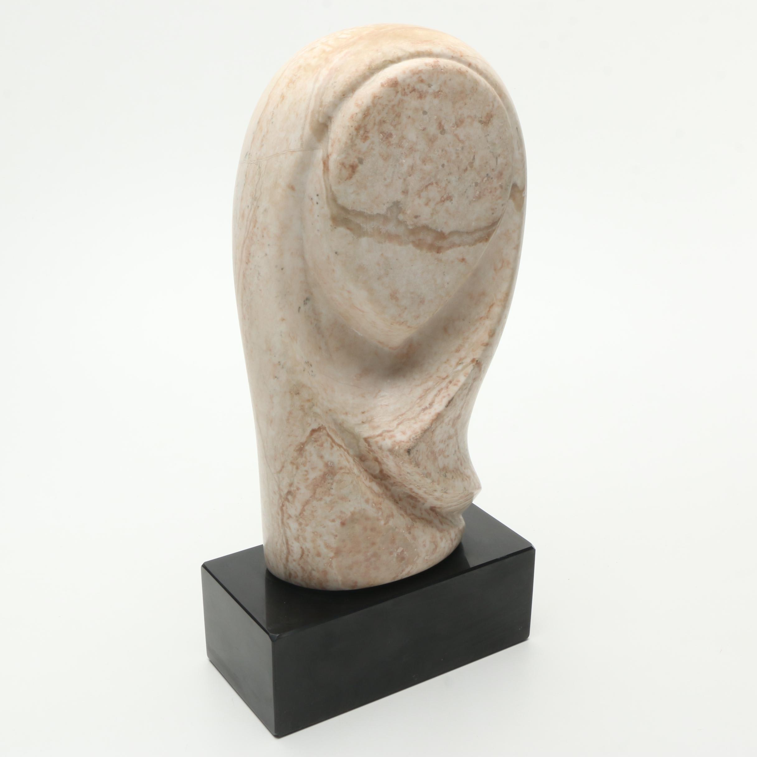 Pink Marble Statue of Abstract Bust