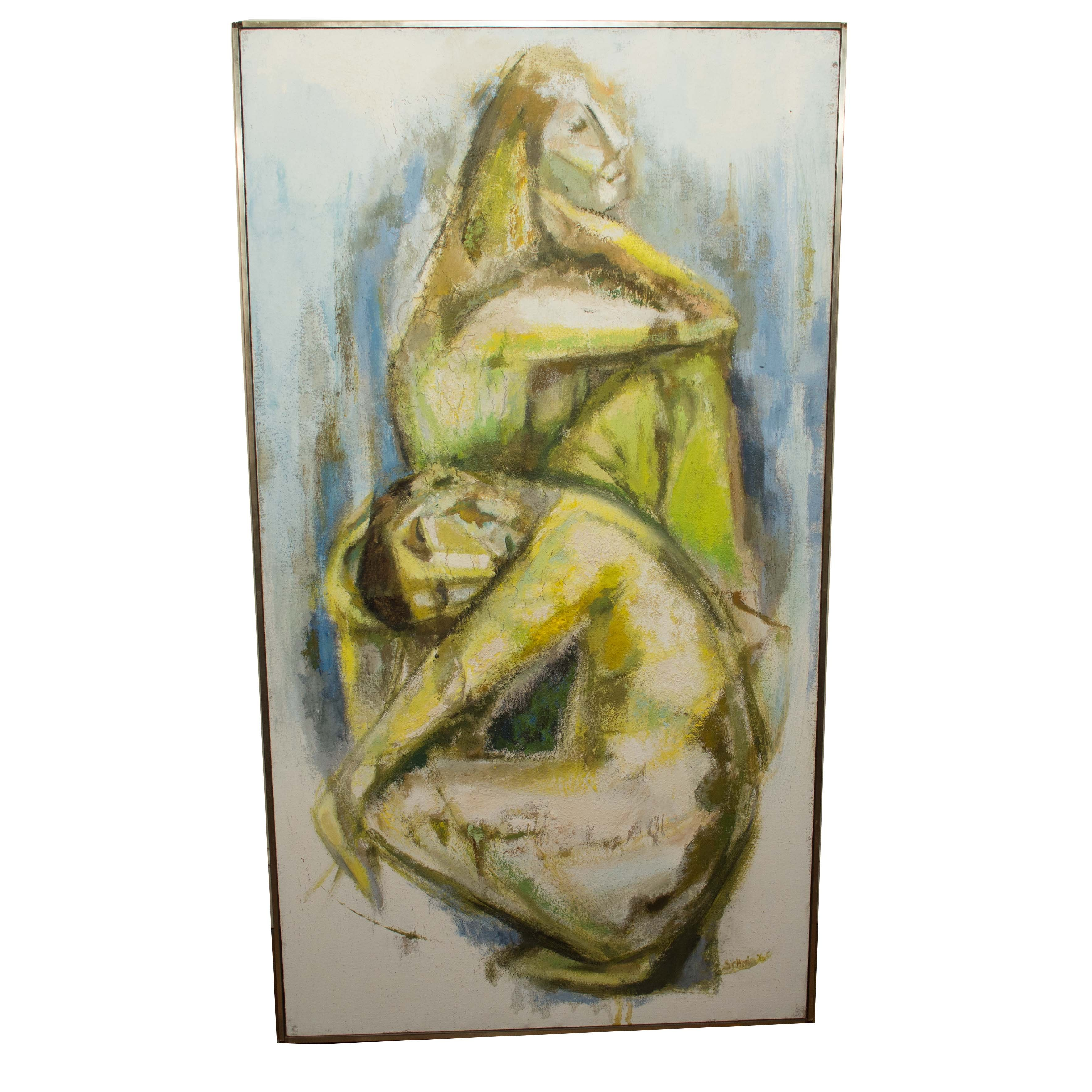Schmid Oil Painting of a Nude Couple