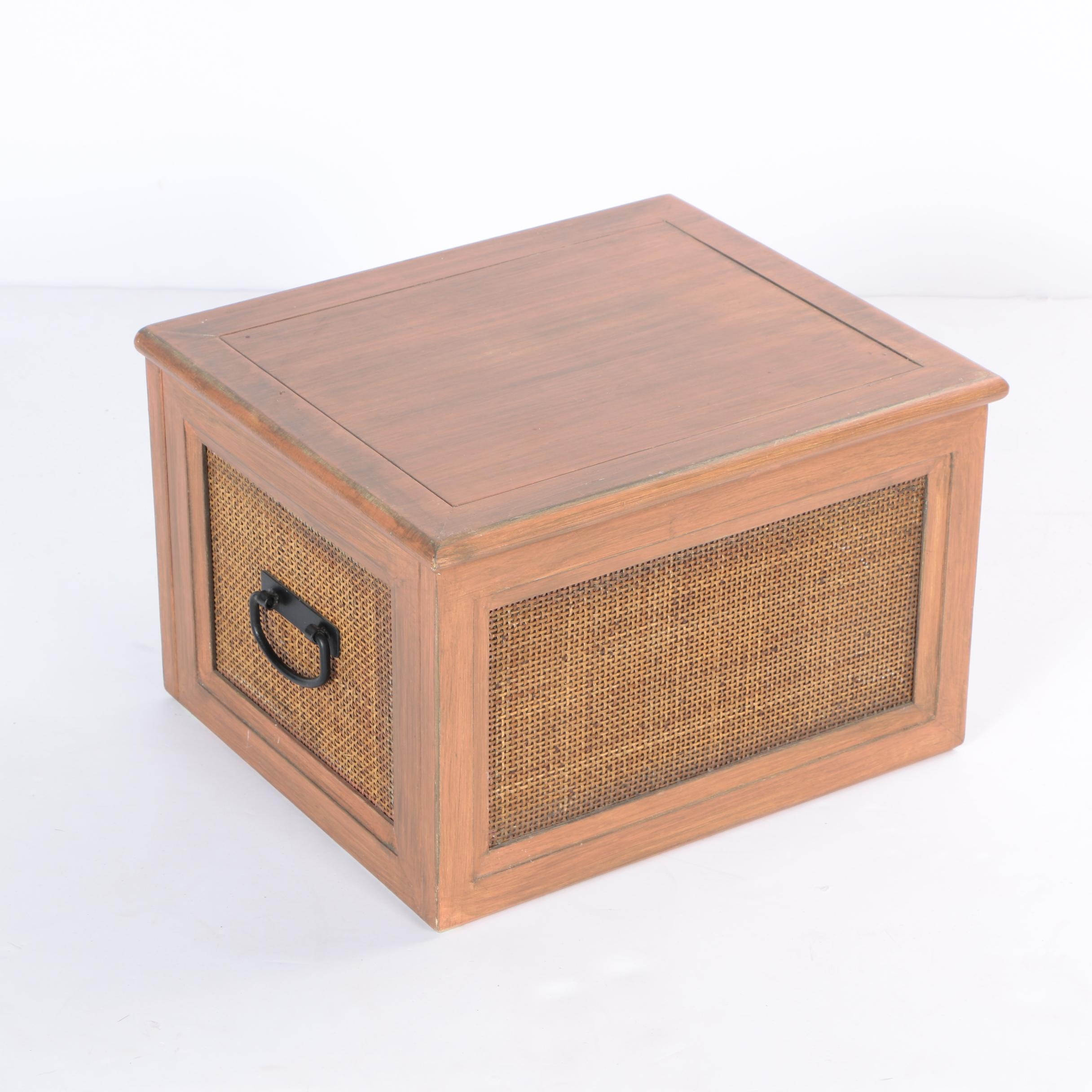 Wooden and Rattan Storage Box