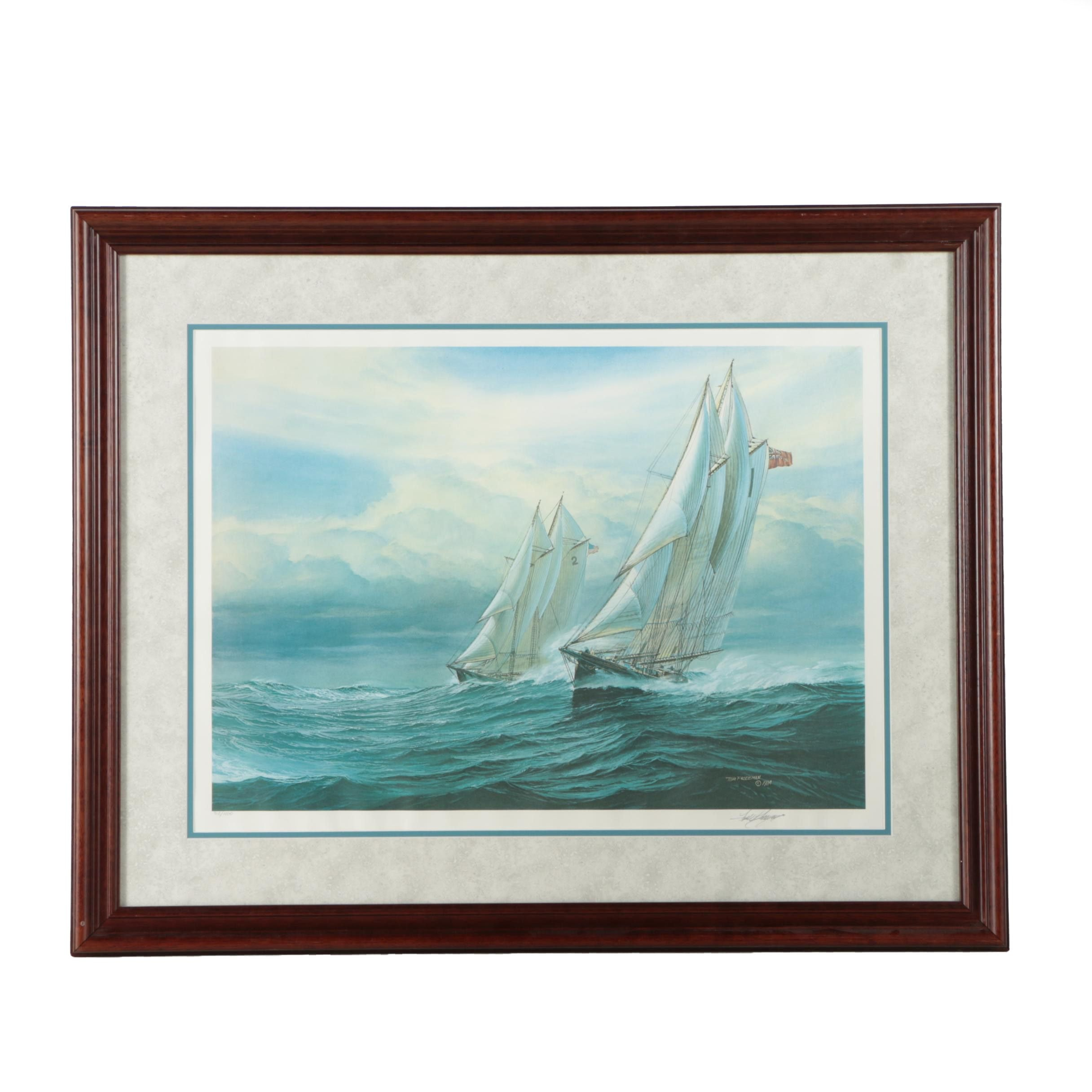 Tom Freeman Limited Edition Offset Lithograph of Ships