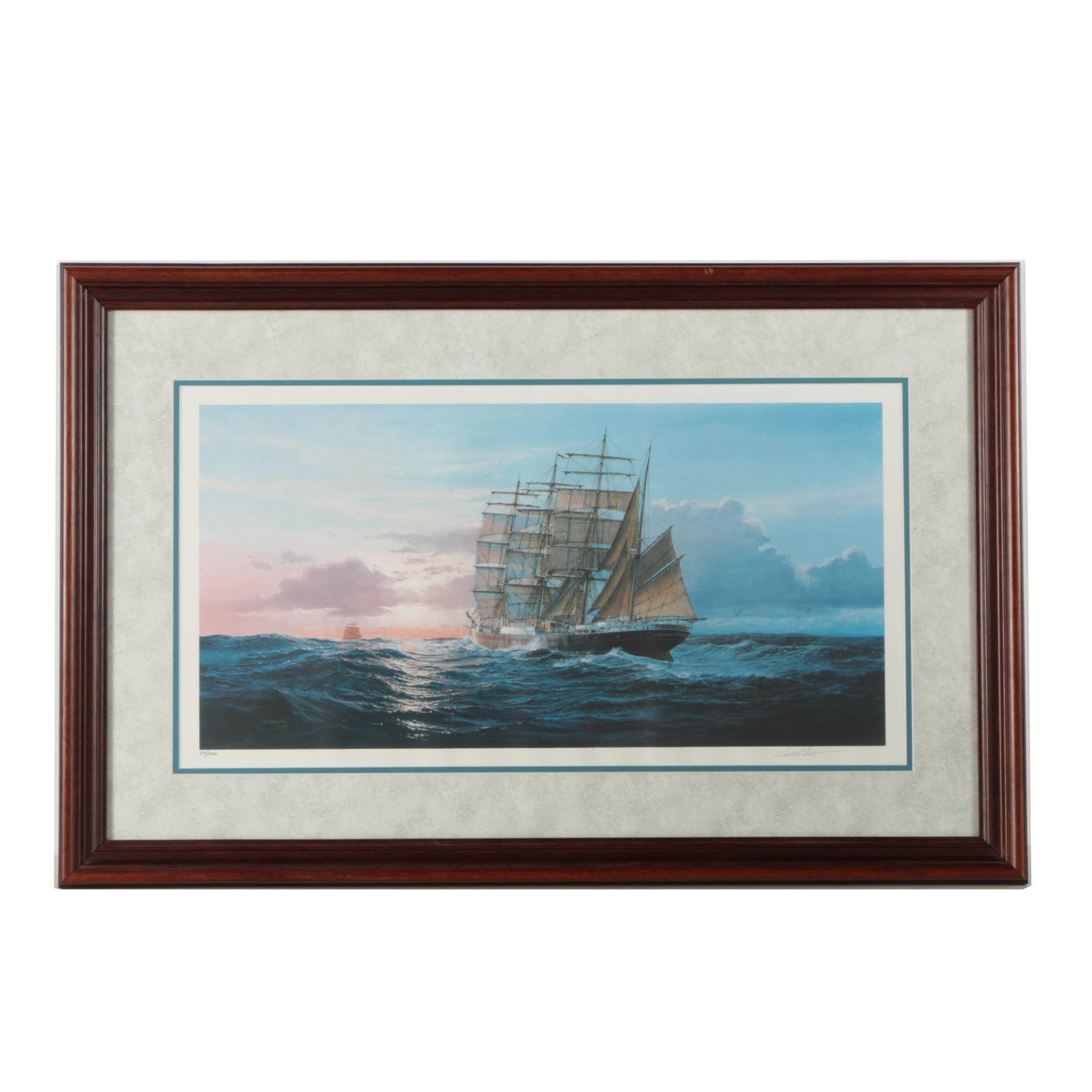 Tom Freeman Limited Edition Offset Lithograph of a Ship