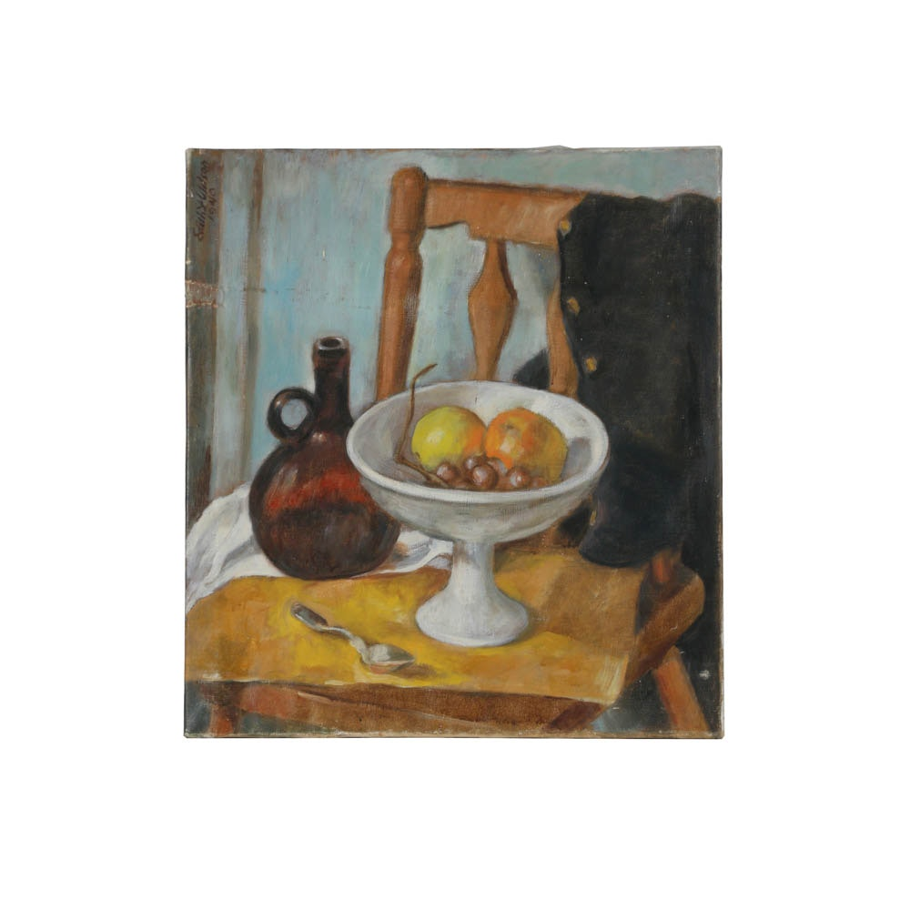 Edith Wilson Oil Painting on Canvas of a Still Life