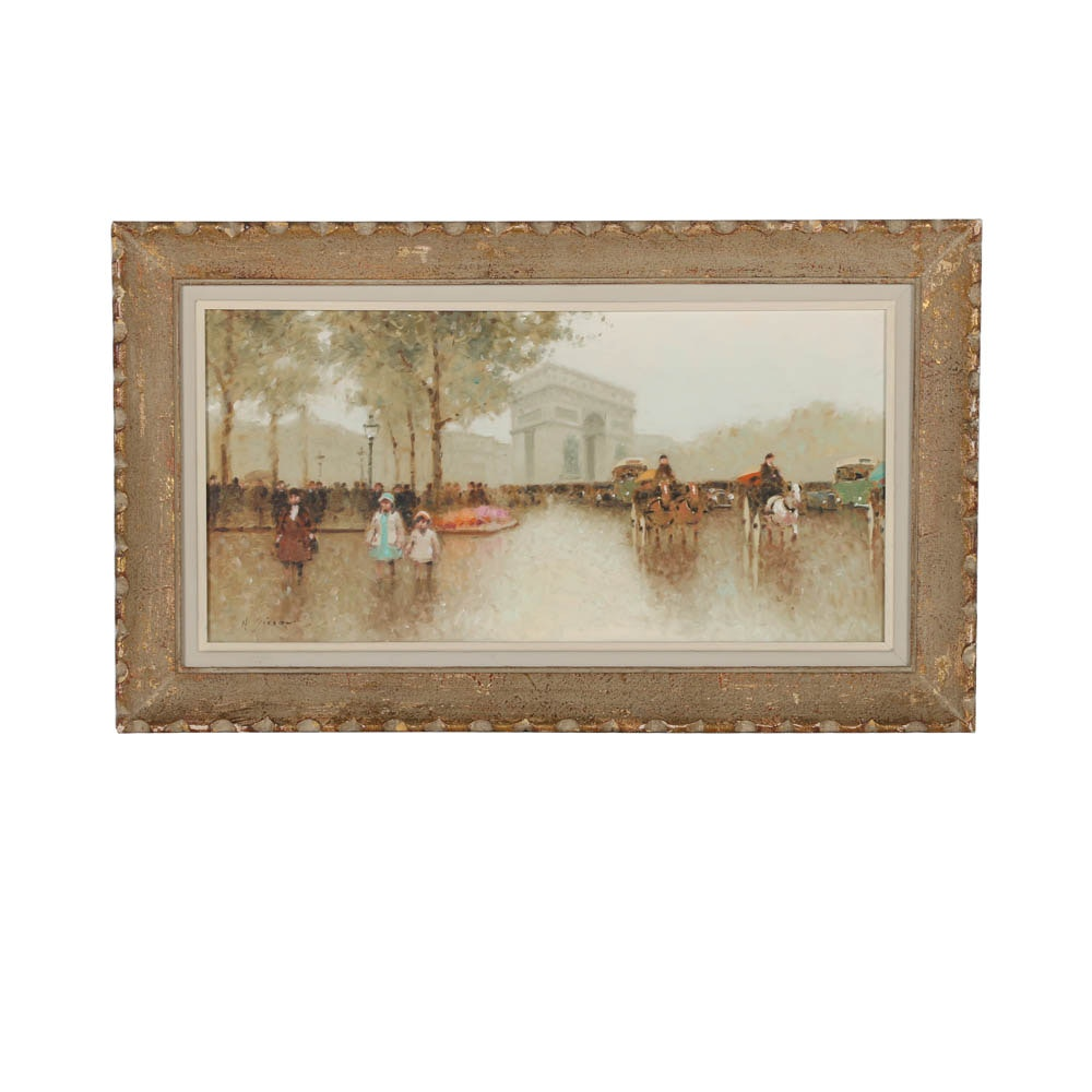 Andre Gisson Oil Painting on Canvas of Impressionistic Parisian Street Scene