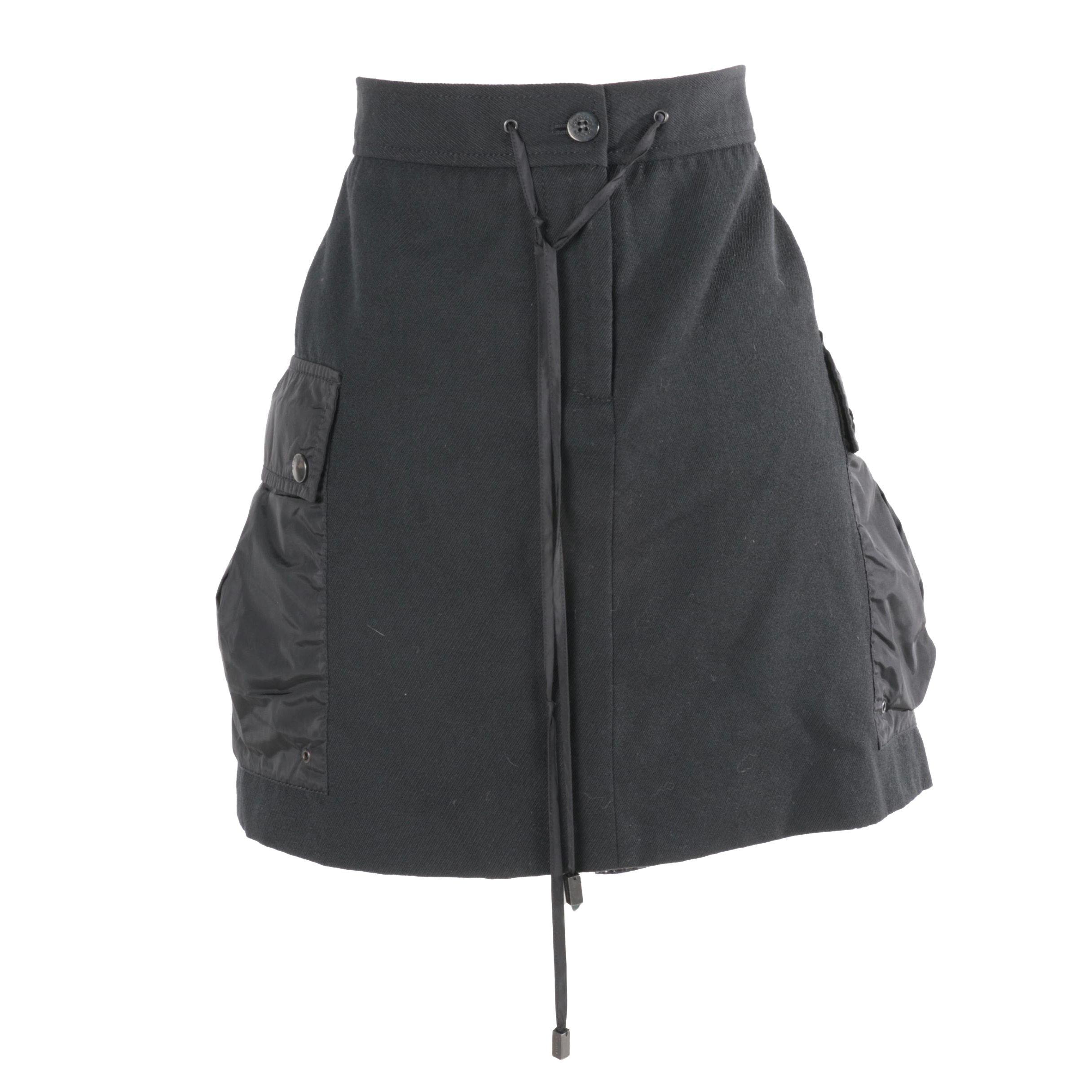 Burberry Wool Blend Sporty Drawstring Skirt